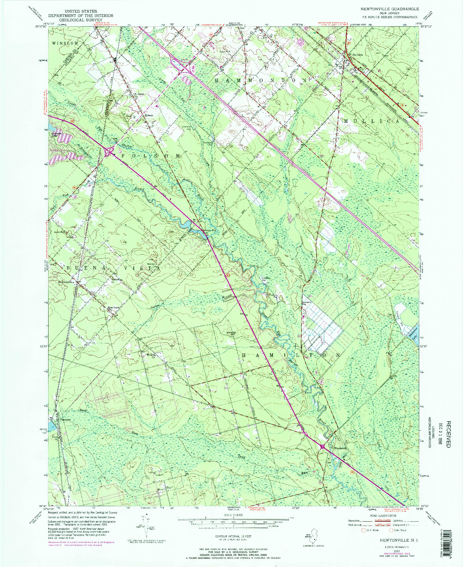 USGS 1:24000-SCALE QUADRANGLE FOR NEWTONVILLE, NJ 1953