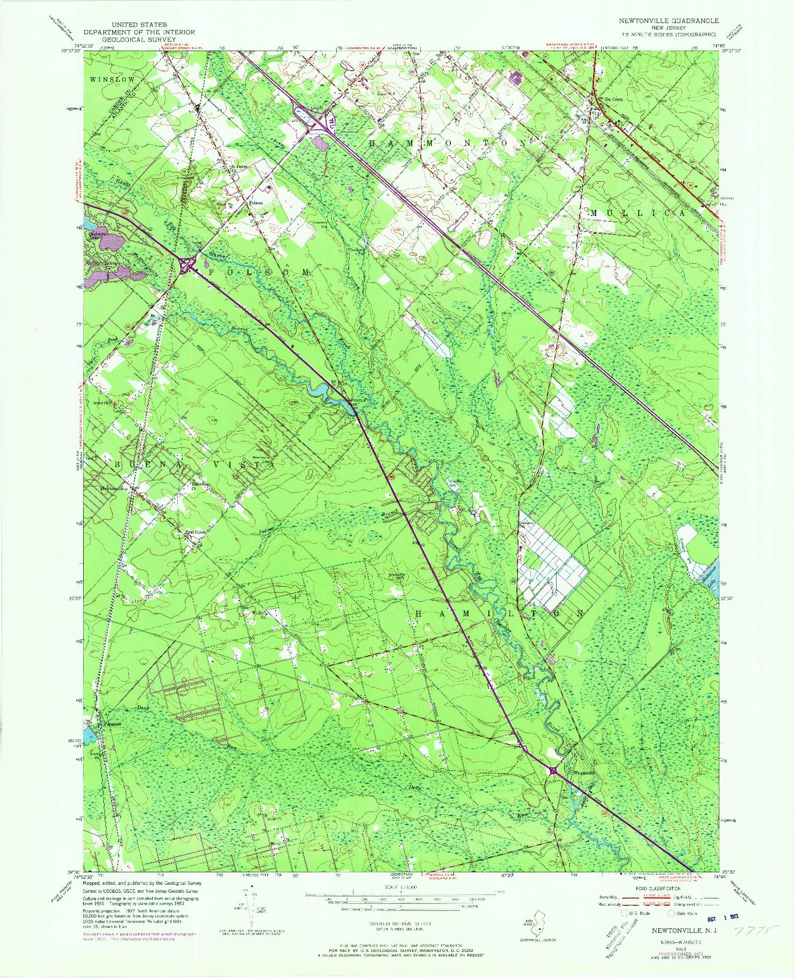 USGS 1:24000-SCALE QUADRANGLE FOR NEWTONVILLE, NJ 1953