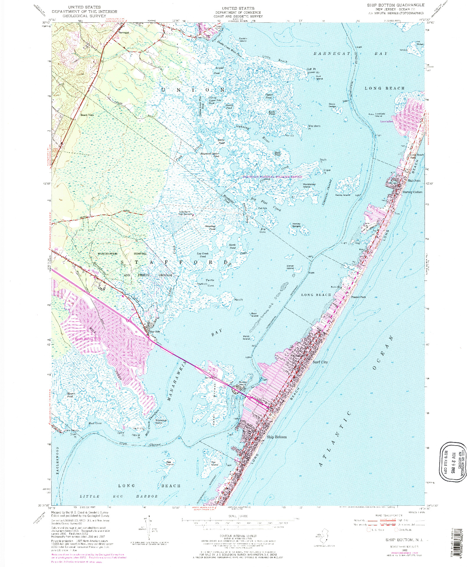 USGS 1:24000-SCALE QUADRANGLE FOR SHIP BOTTOM, NJ 1952