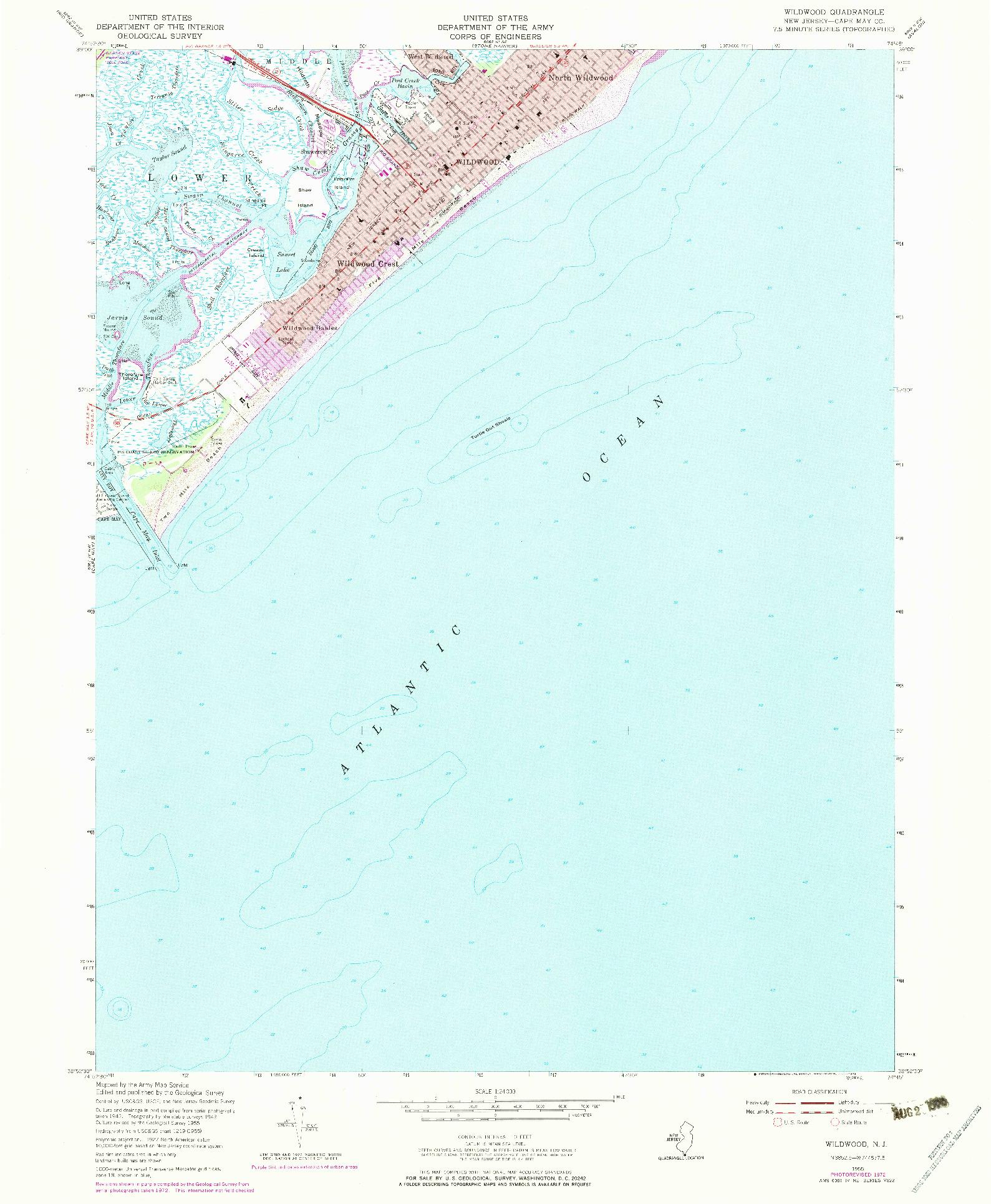 USGS 1:24000-SCALE QUADRANGLE FOR WILDWOOD, NJ 1955