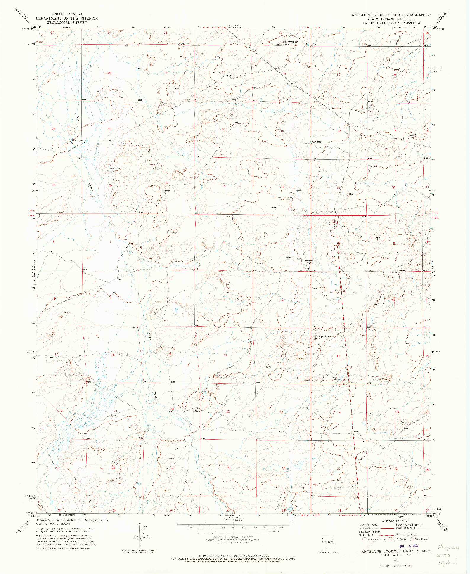 USGS 1:24000-SCALE QUADRANGLE FOR ANTELOPE LOOKOUT MESA, NM 1970