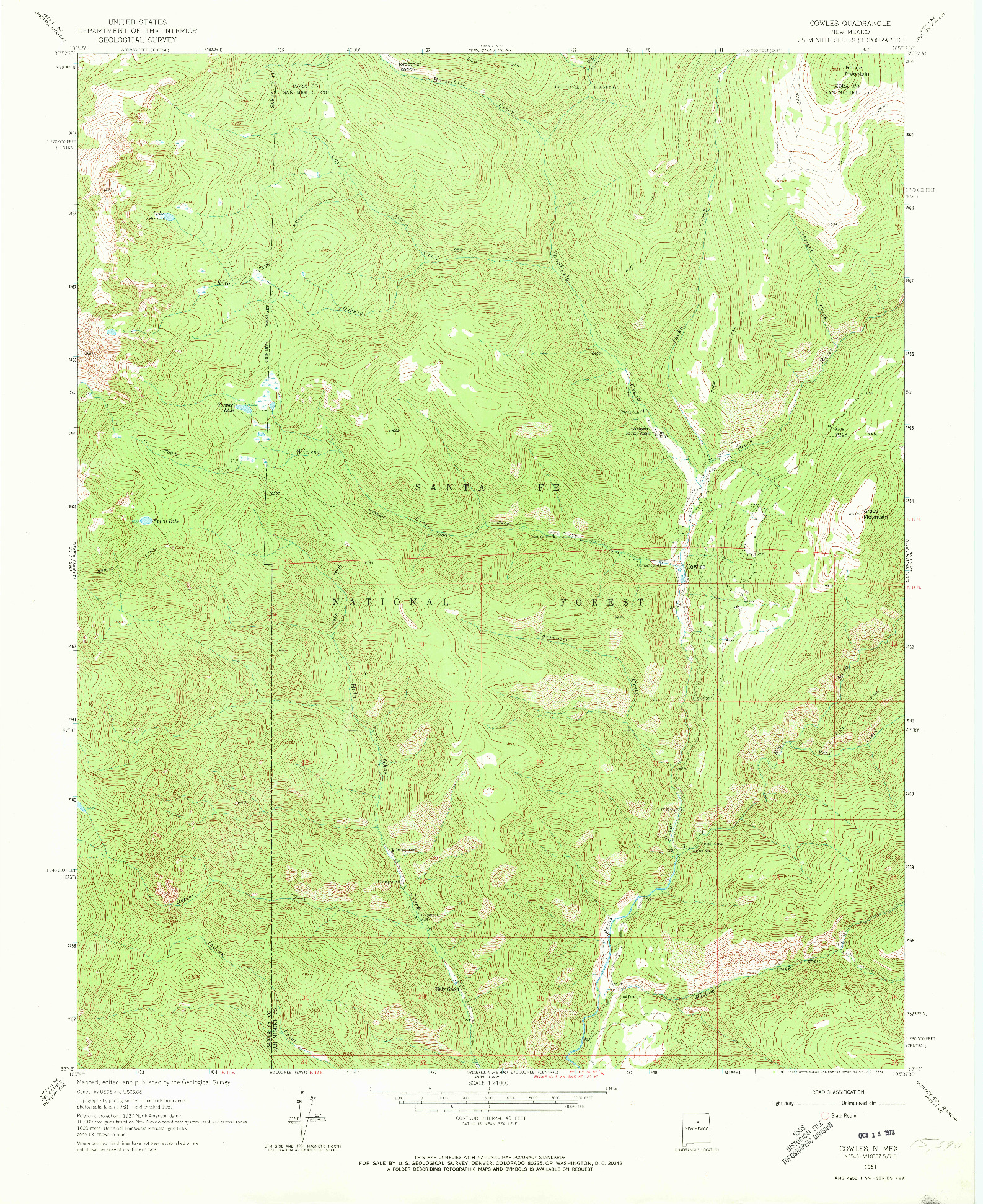 USGS 1:24000-SCALE QUADRANGLE FOR COWLES, NM 1961