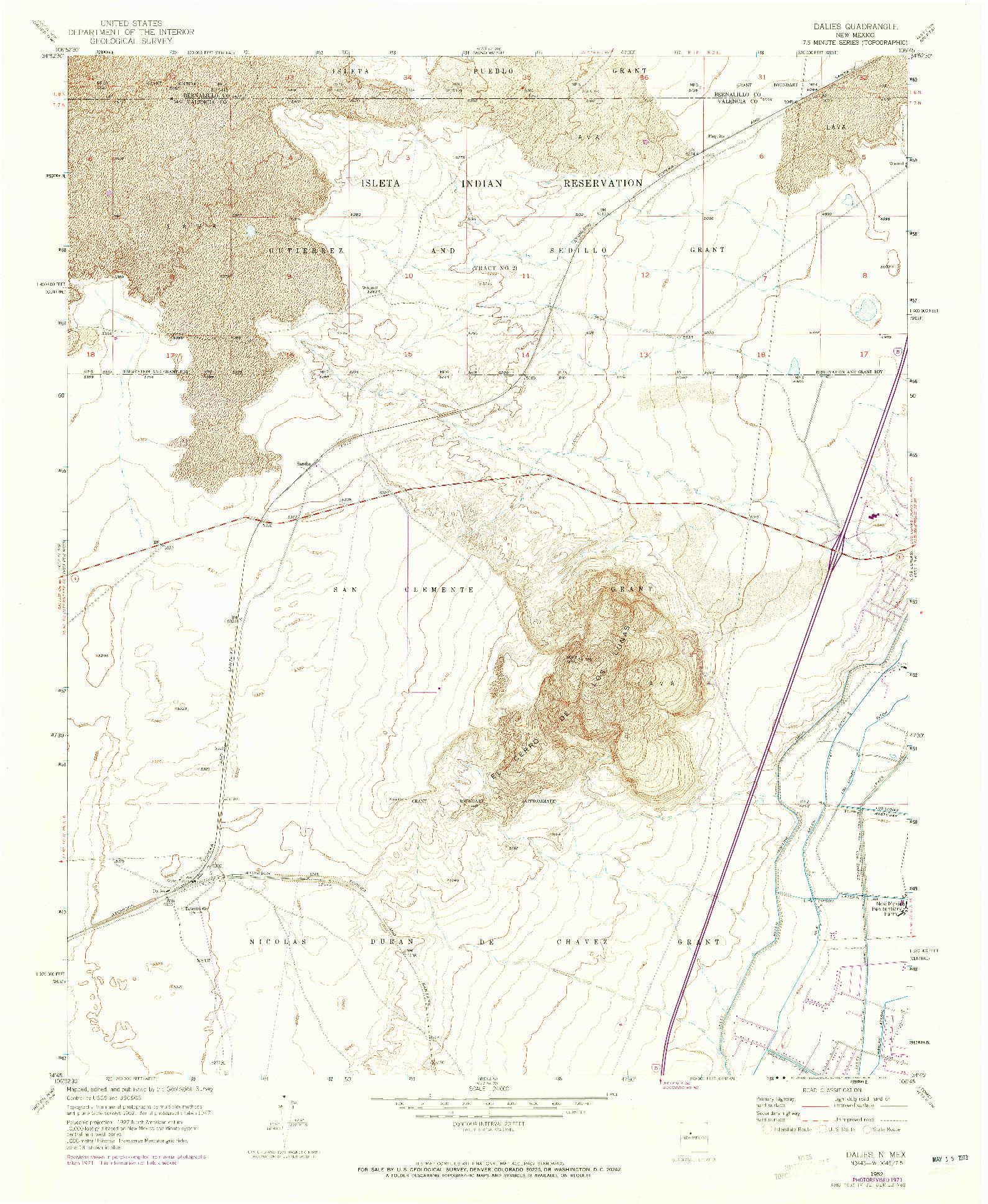 USGS 1:24000-SCALE QUADRANGLE FOR DALIES, NM 1952