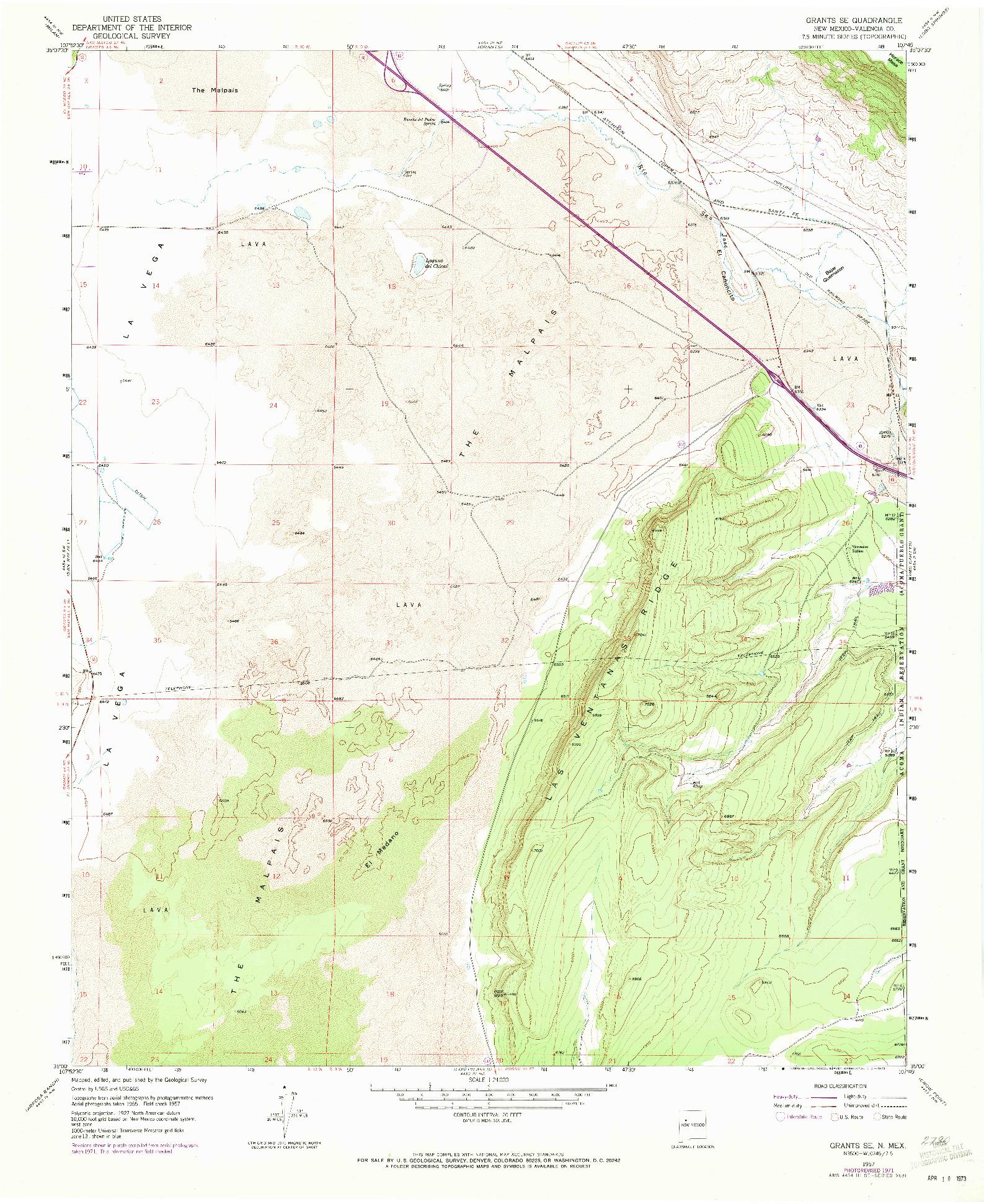 USGS 1:24000-SCALE QUADRANGLE FOR GRANTS SE, NM 1957