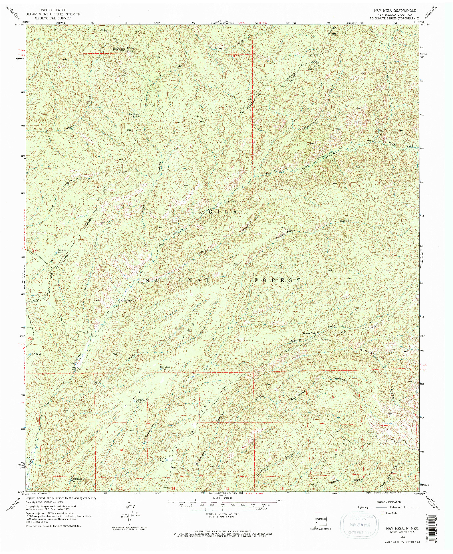USGS 1:24000-SCALE QUADRANGLE FOR HAY MESA, NM 1963