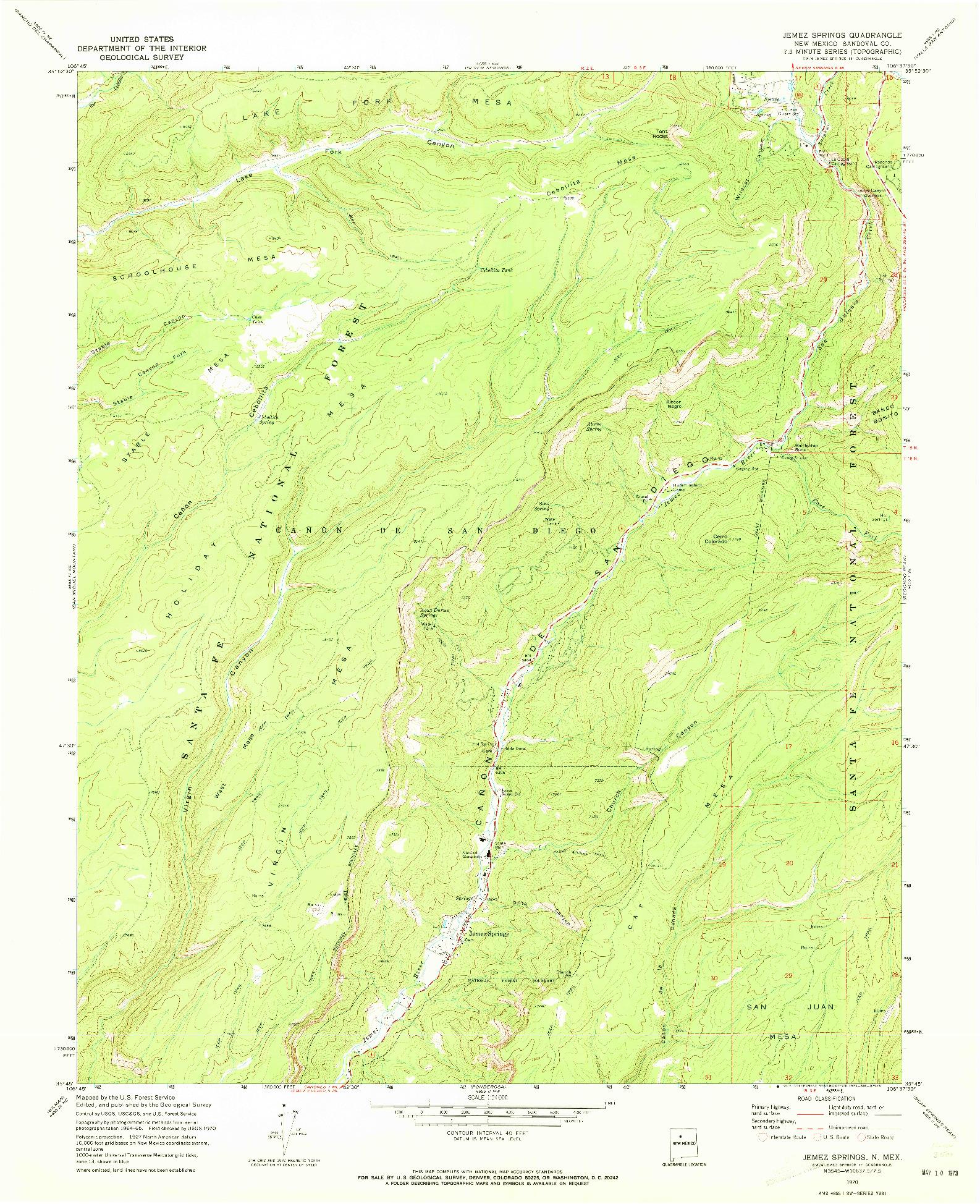 USGS 1:24000-SCALE QUADRANGLE FOR JEMEZ SPRINGS, NM 1970