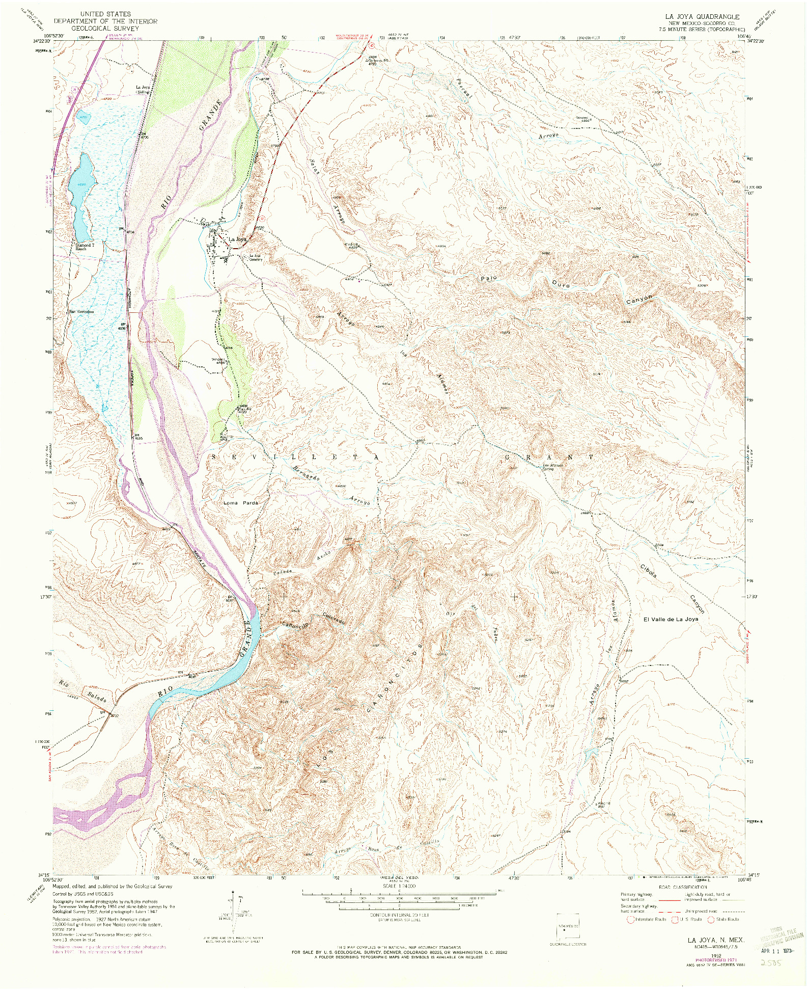 USGS 1:24000-SCALE QUADRANGLE FOR LA JOYA, NM 1952