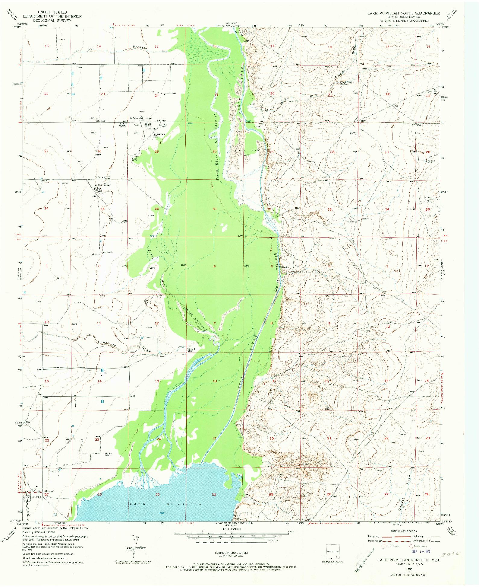 USGS 1:24000-SCALE QUADRANGLE FOR LAKE MC MILLAN NORTH, NM 1955