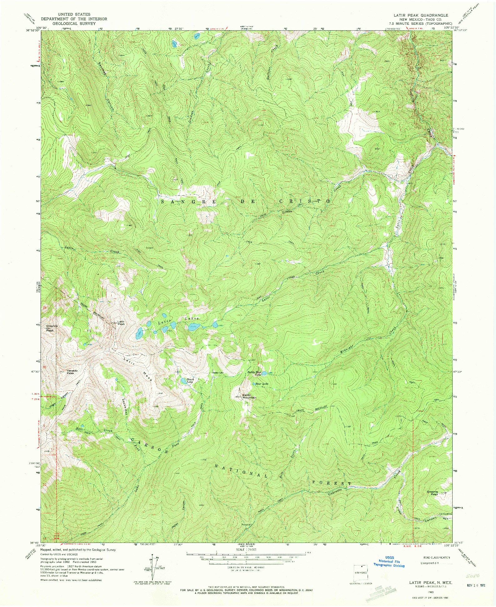 USGS 1:24000-SCALE QUADRANGLE FOR LATIR PEAK, NM 1963