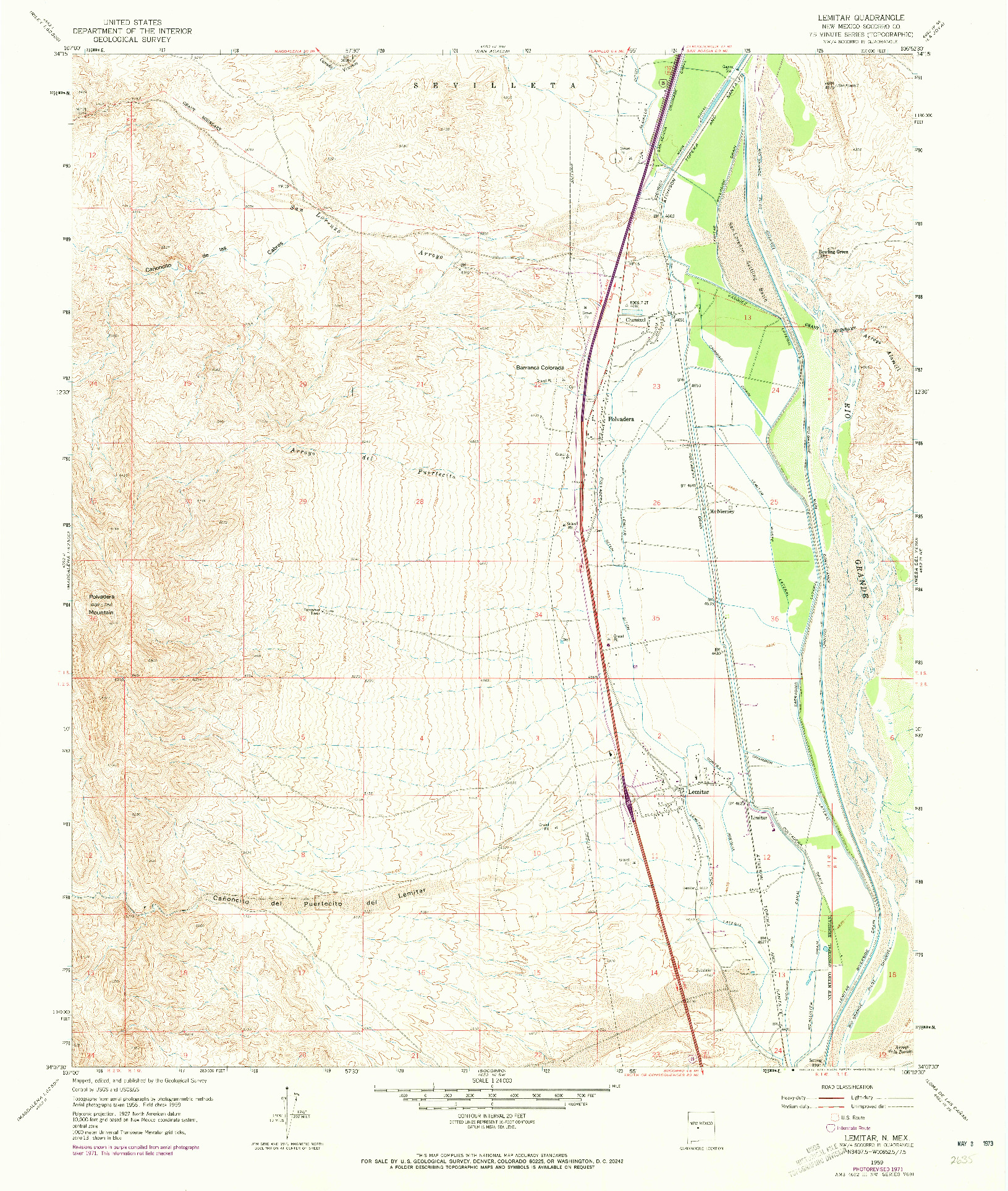USGS 1:24000-SCALE QUADRANGLE FOR LEMITAR, NM 1959