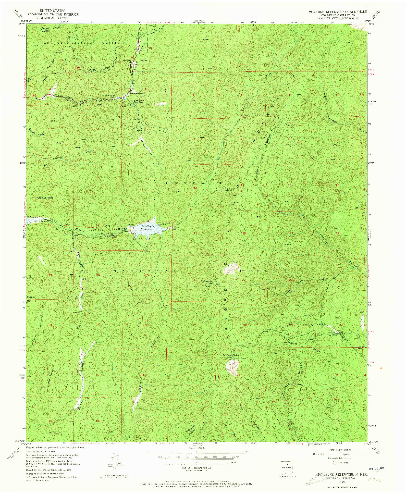 USGS 1:24000-SCALE QUADRANGLE FOR MC CLURE RESERVOIR, NM 1953