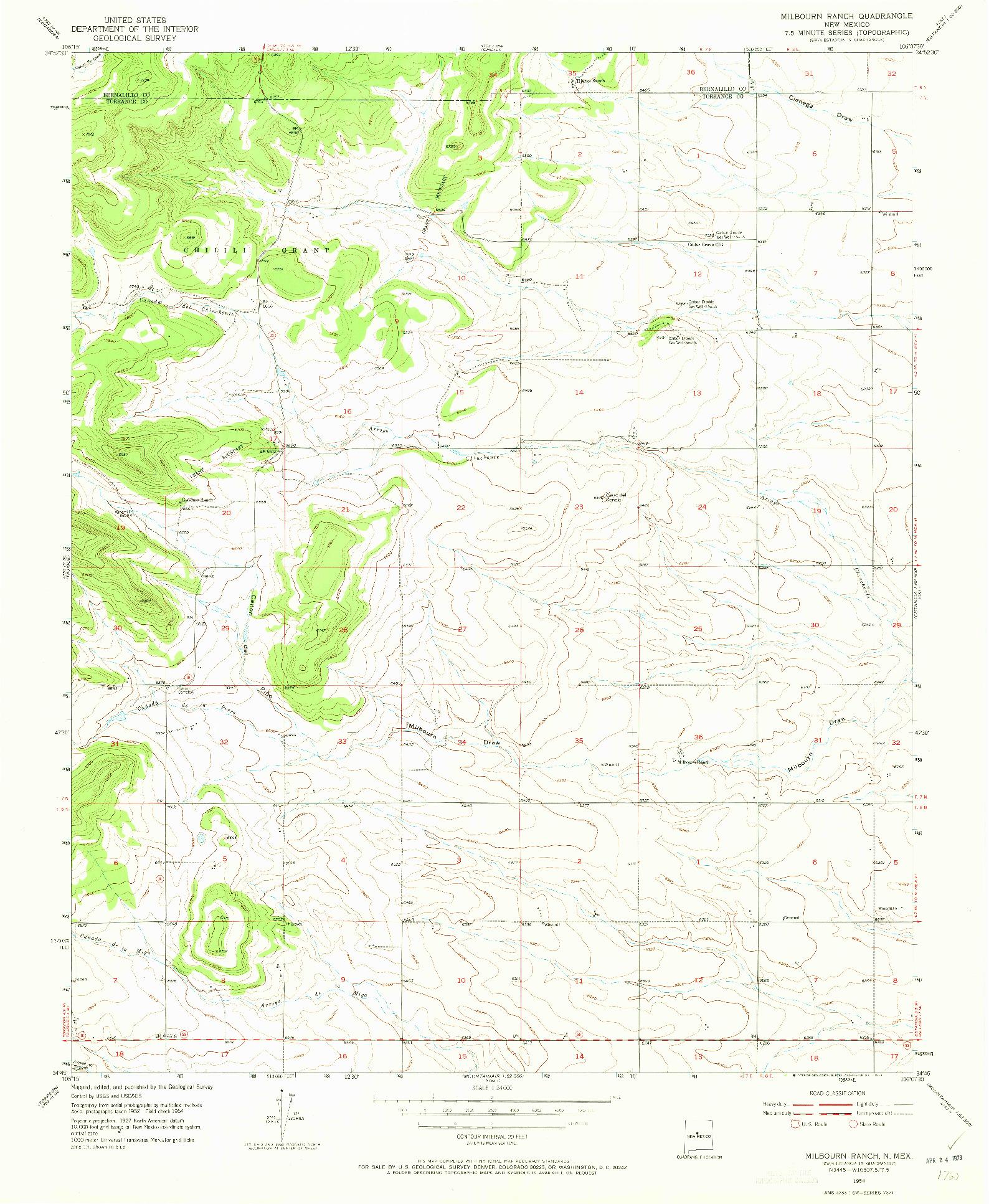 USGS 1:24000-SCALE QUADRANGLE FOR MILBOURN RANCH, NM 1954
