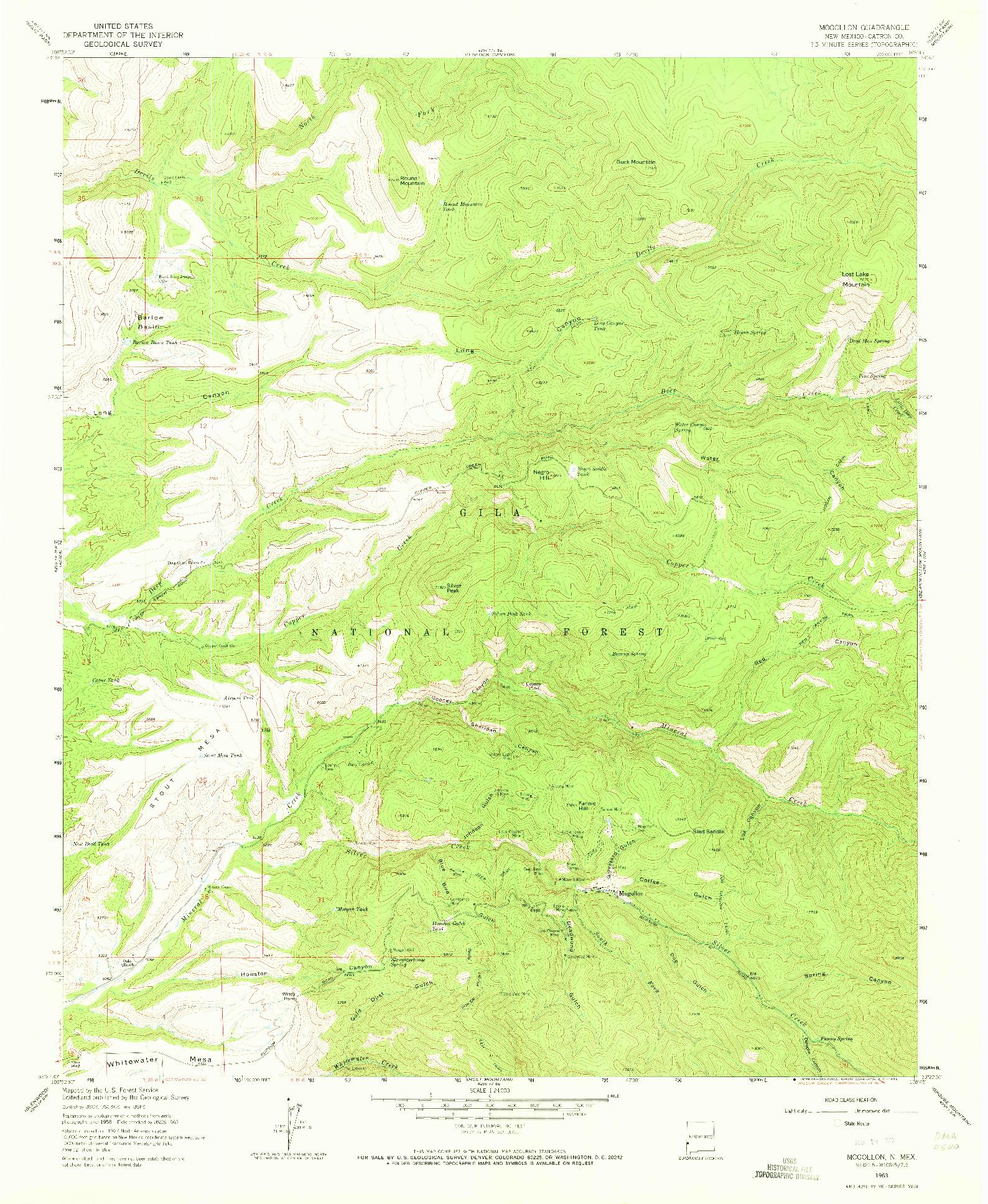 USGS 1:24000-SCALE QUADRANGLE FOR MOGOLLON, NM 1963