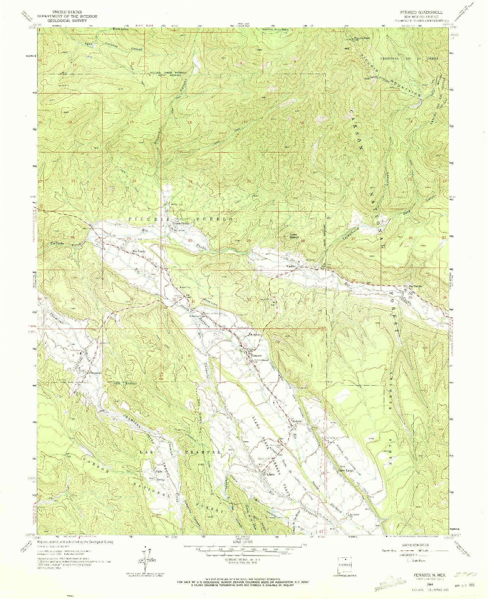 USGS 1:24000-SCALE QUADRANGLE FOR PENASCO, NM 1964