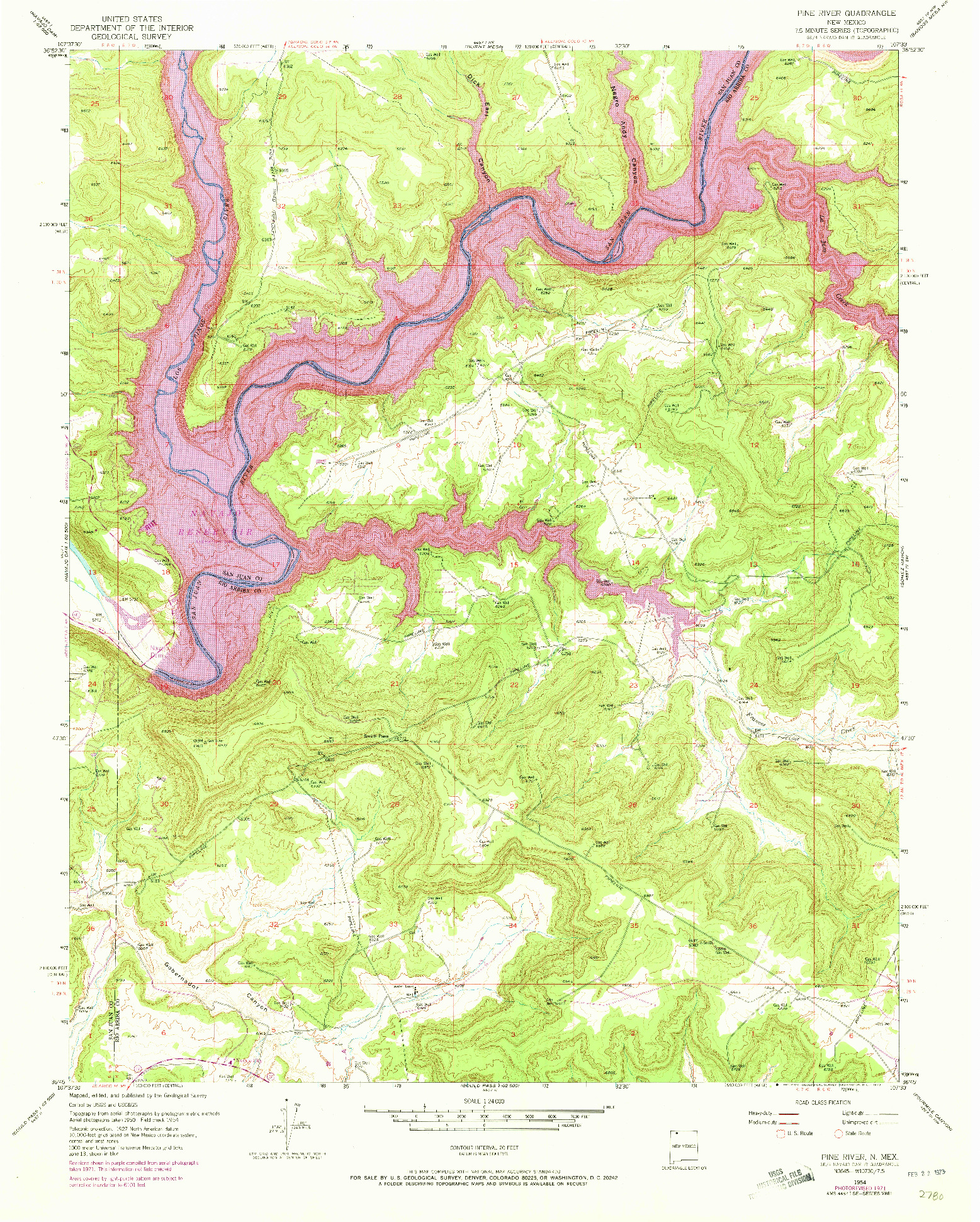USGS 1:24000-SCALE QUADRANGLE FOR PINE RIVER, NM 1954