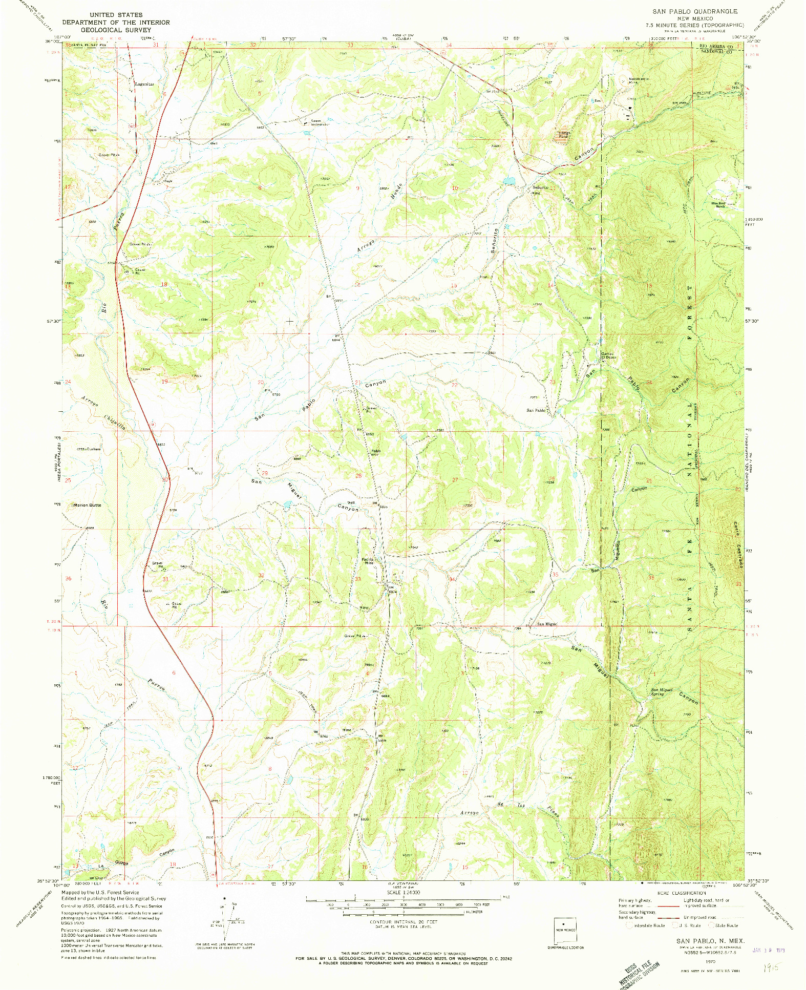 USGS 1:24000-SCALE QUADRANGLE FOR SAN PABLO, NM 1970