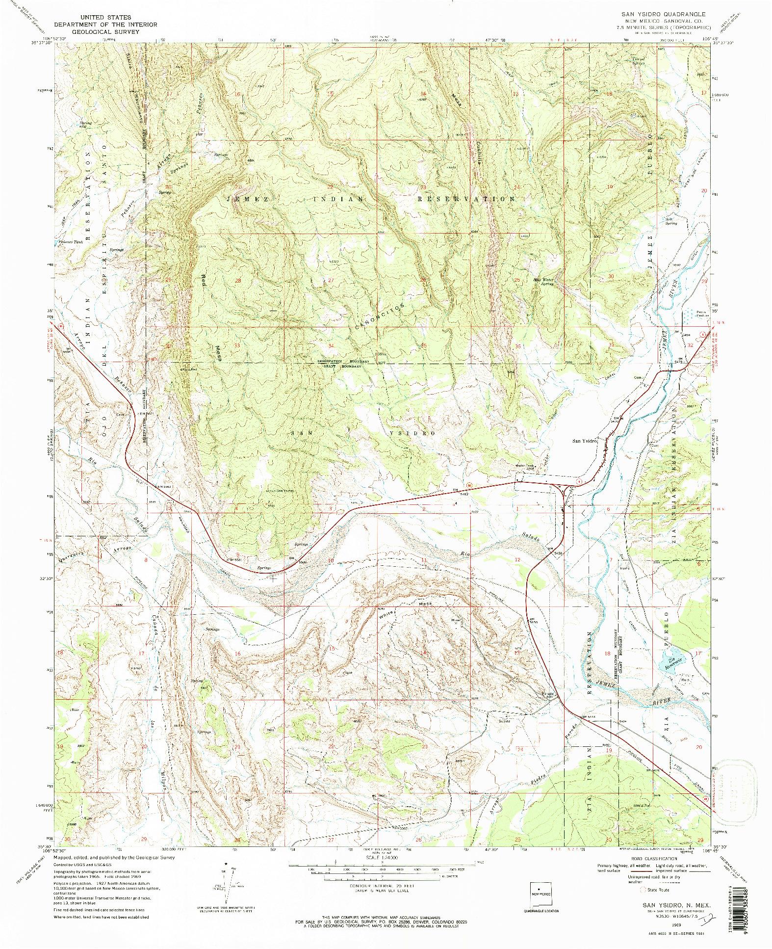 USGS 1:24000-SCALE QUADRANGLE FOR SAN YSIDRO, NM 1969