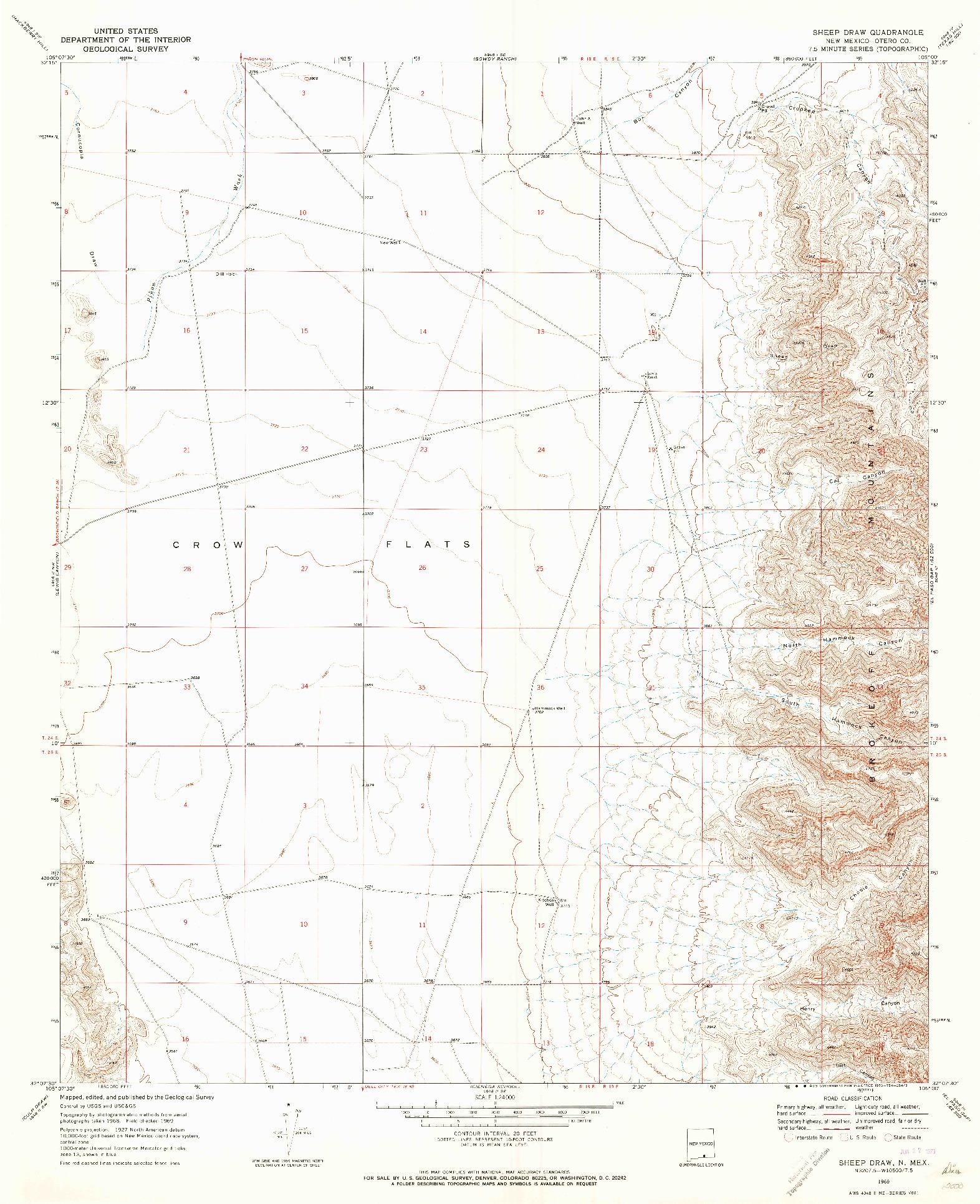 USGS 1:24000-SCALE QUADRANGLE FOR SHEEP DRAW, NM 1969