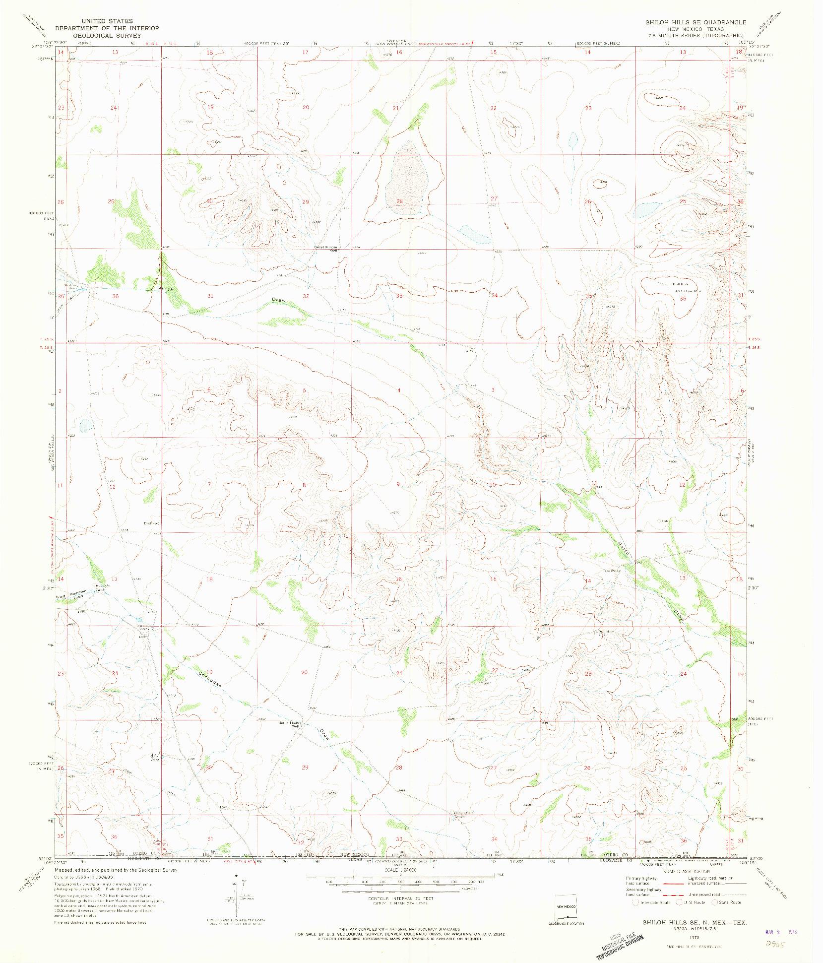 USGS 1:24000-SCALE QUADRANGLE FOR SHILOH HILLS SE, NM 1970