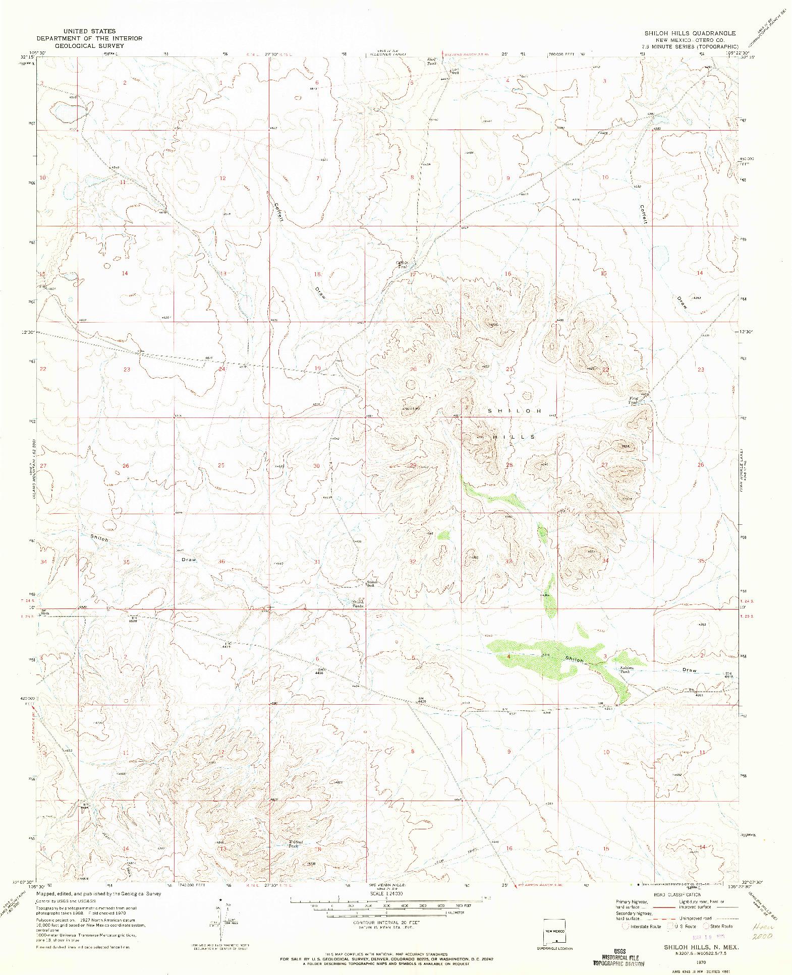 USGS 1:24000-SCALE QUADRANGLE FOR SHILOH HILLS, NM 1970