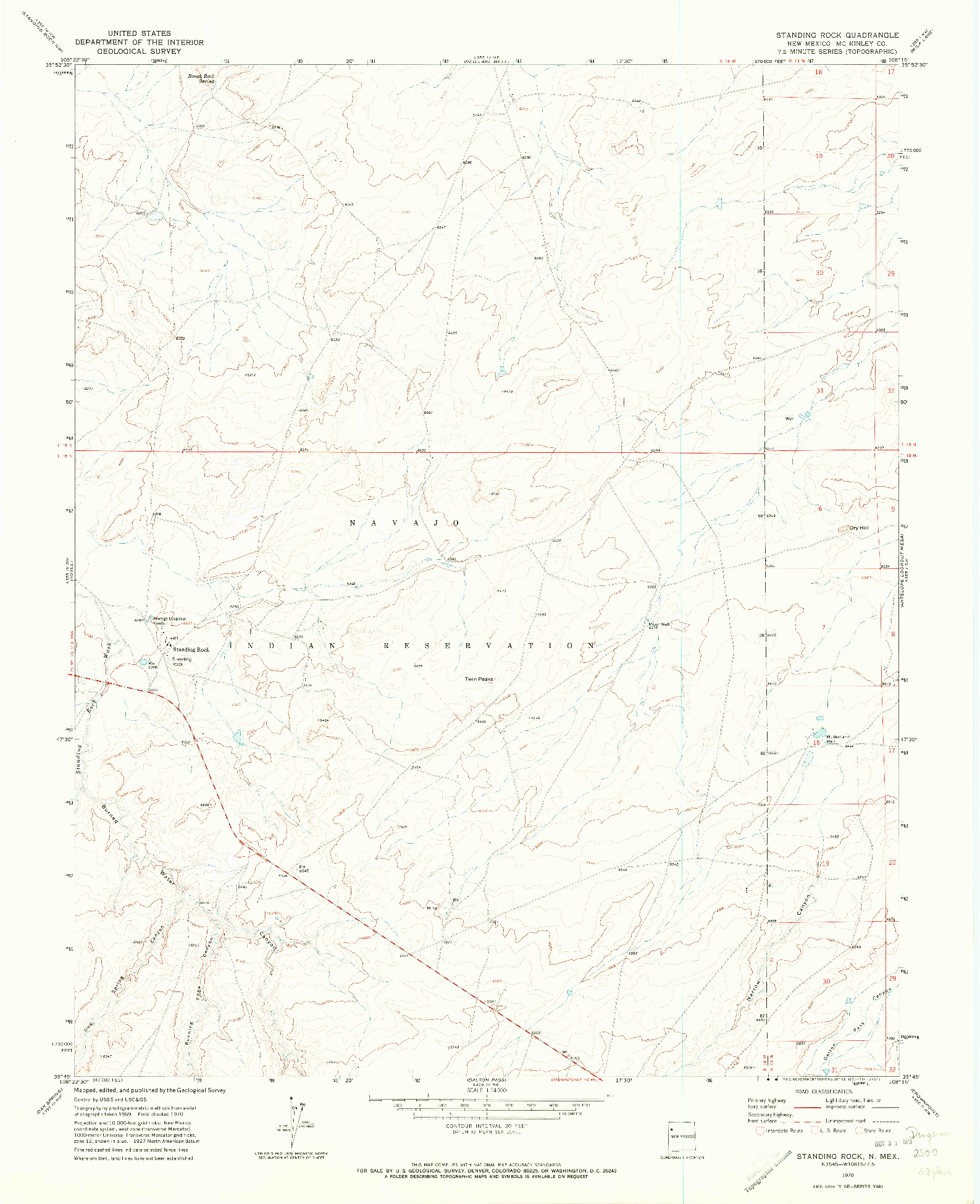 USGS 1:24000-SCALE QUADRANGLE FOR STANDING ROCK, NM 1970