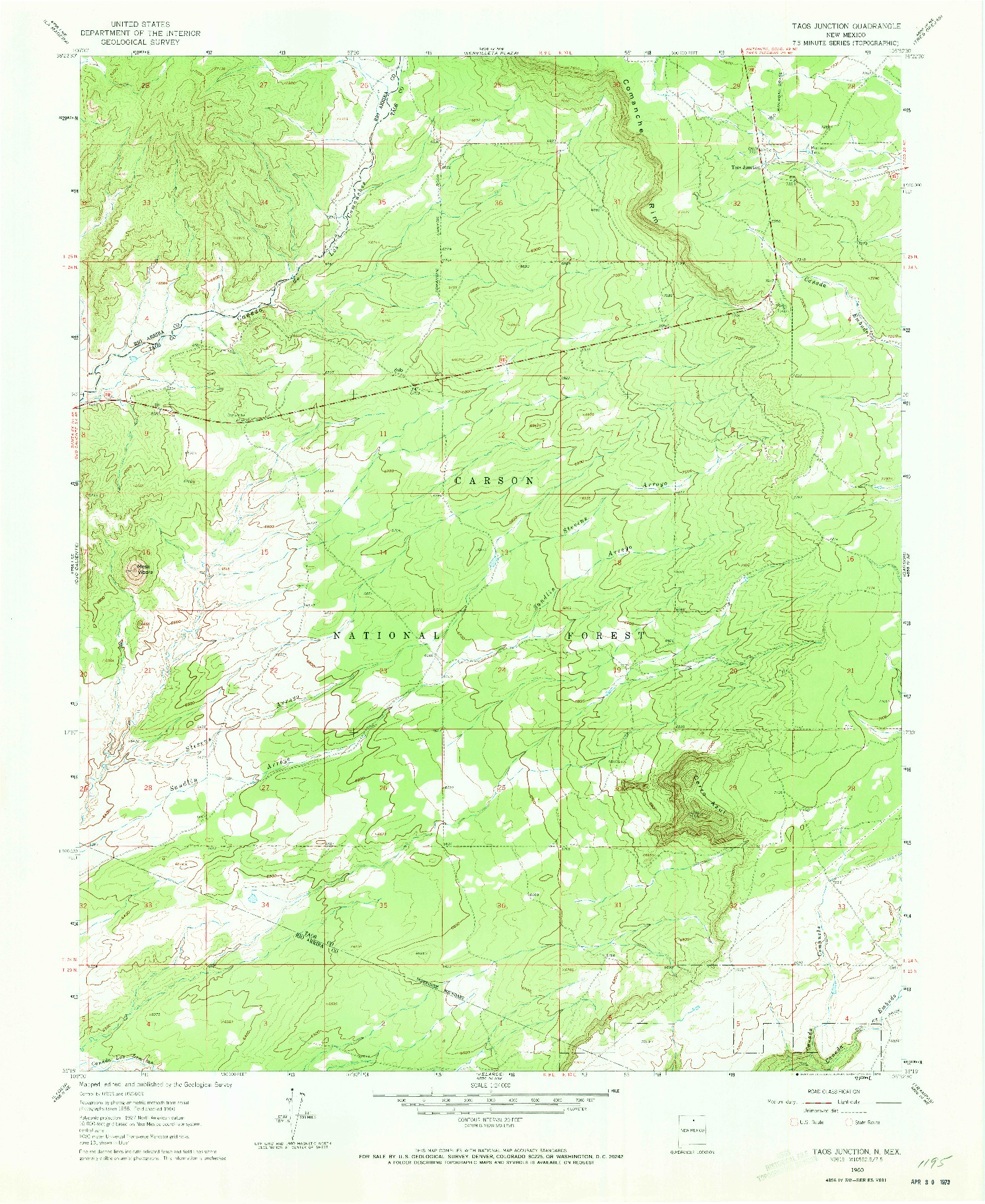 USGS 1:24000-SCALE QUADRANGLE FOR TAOS JUNCTION, NM 1960