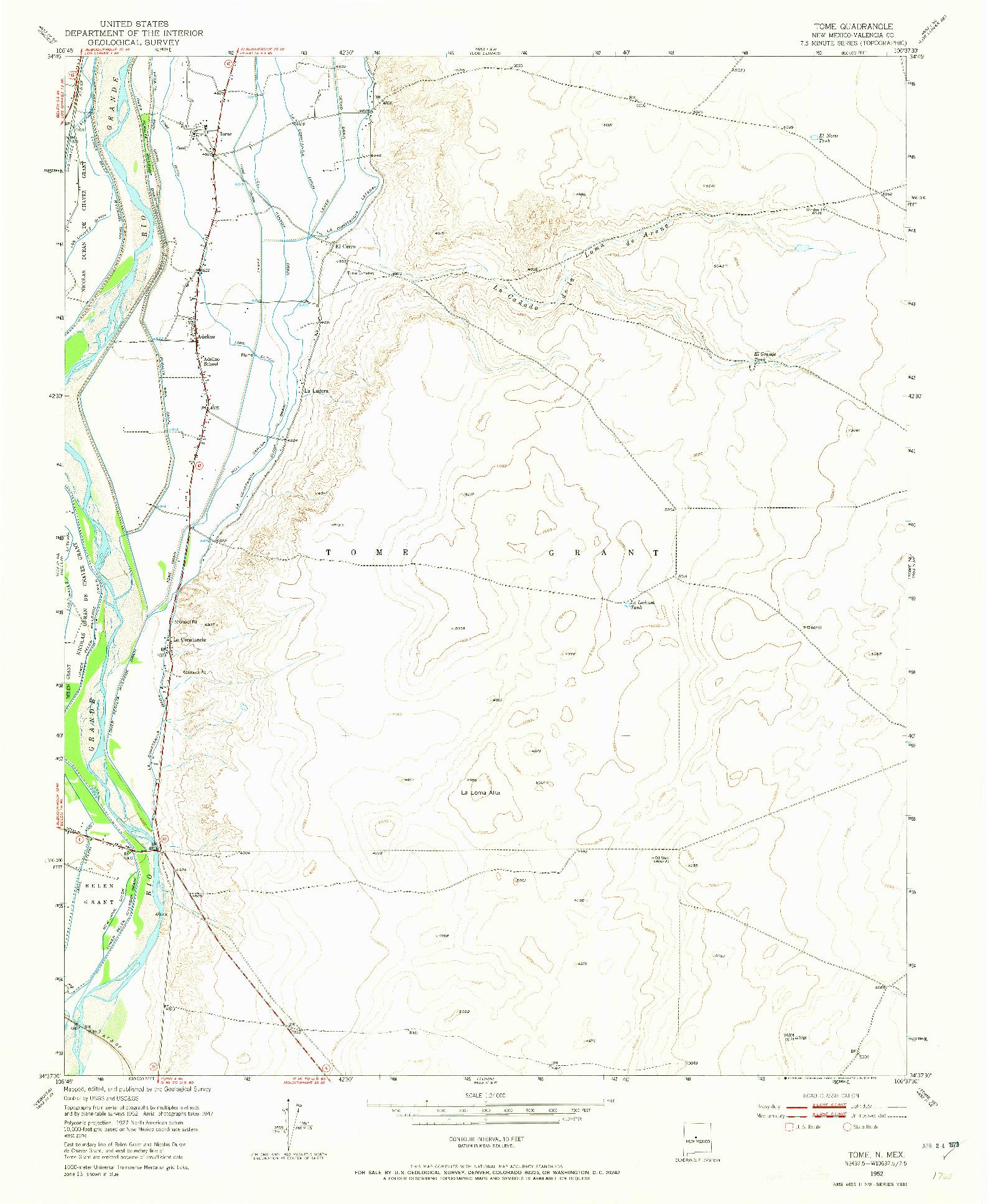 USGS 1:24000-SCALE QUADRANGLE FOR TOME, NM 1952