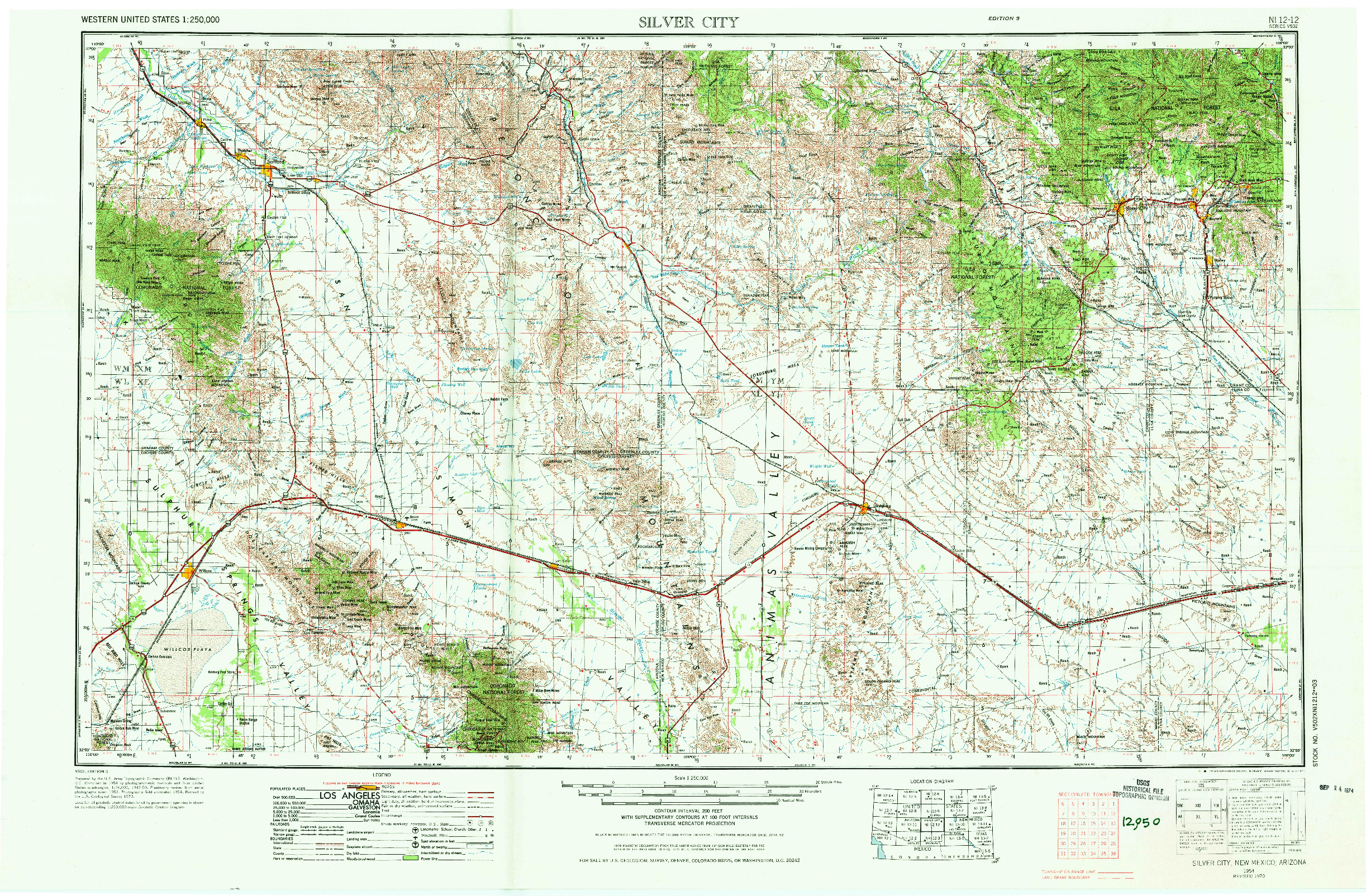 USGS 1:250000-SCALE QUADRANGLE FOR SILVER CITY, NM 1954