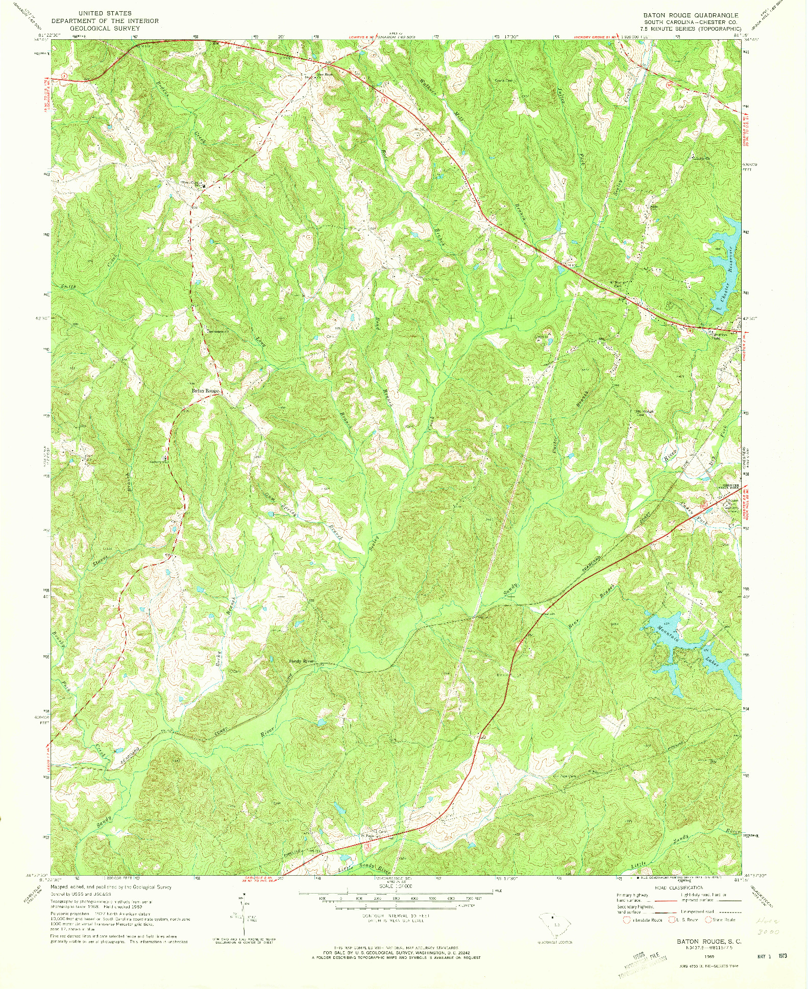USGS 1:24000-SCALE QUADRANGLE FOR BATON ROUGE, SC 1969
