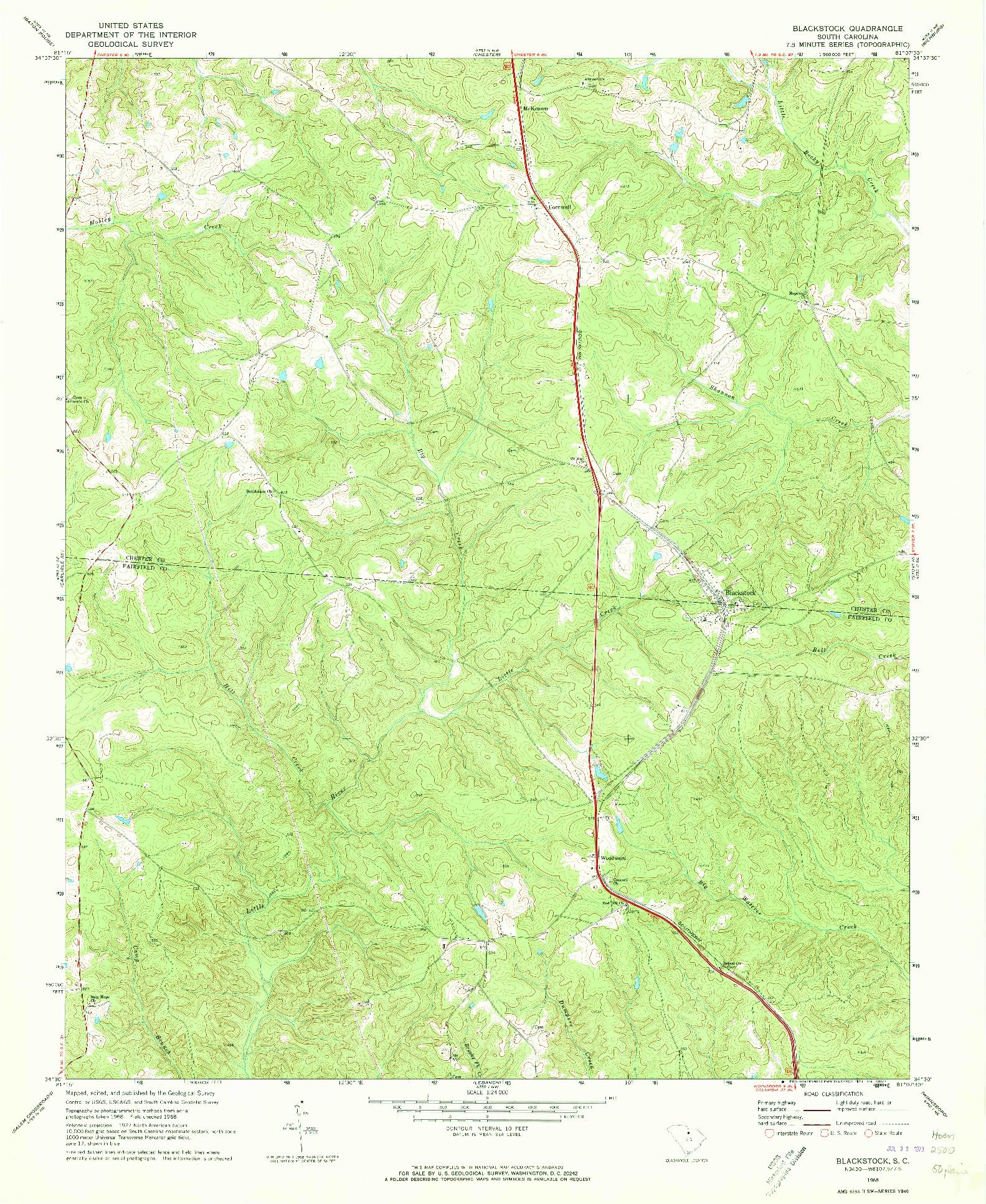 USGS 1:24000-SCALE QUADRANGLE FOR BLACKSTOCK, SC 1968