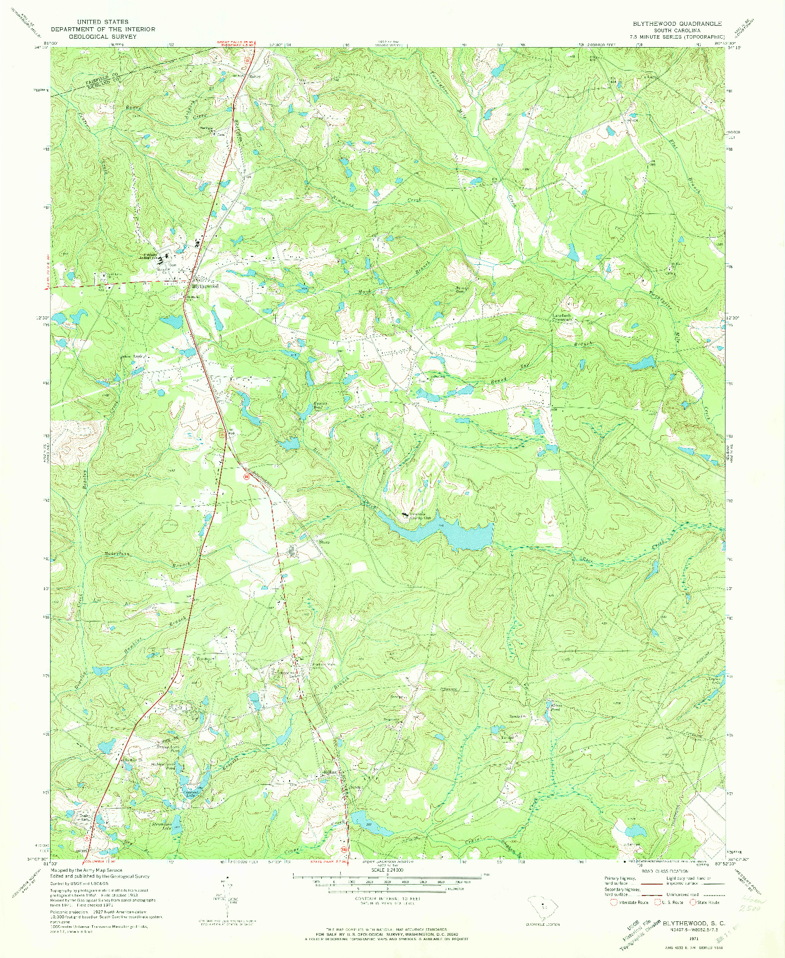 USGS 1:24000-SCALE QUADRANGLE FOR BLYTHEWOOD, SC 1971
