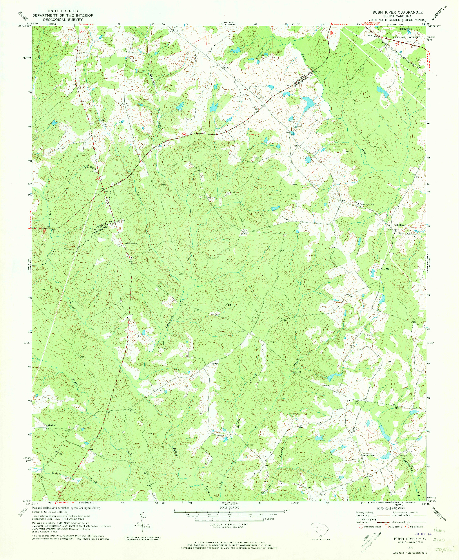 USGS 1:24000-SCALE QUADRANGLE FOR BUSH RIVER, SC 1970