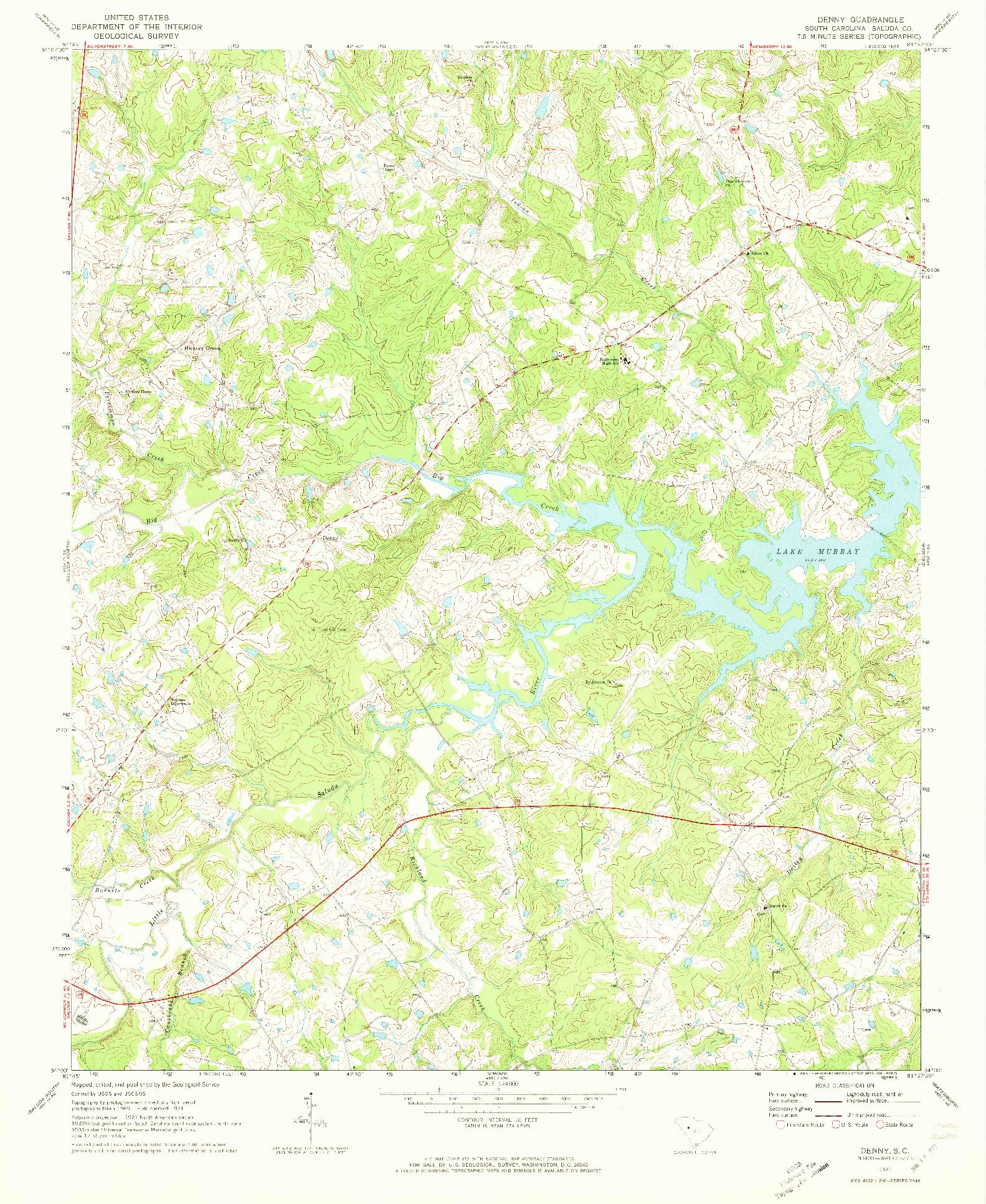 USGS 1:24000-SCALE QUADRANGLE FOR DENNY, SC 1971