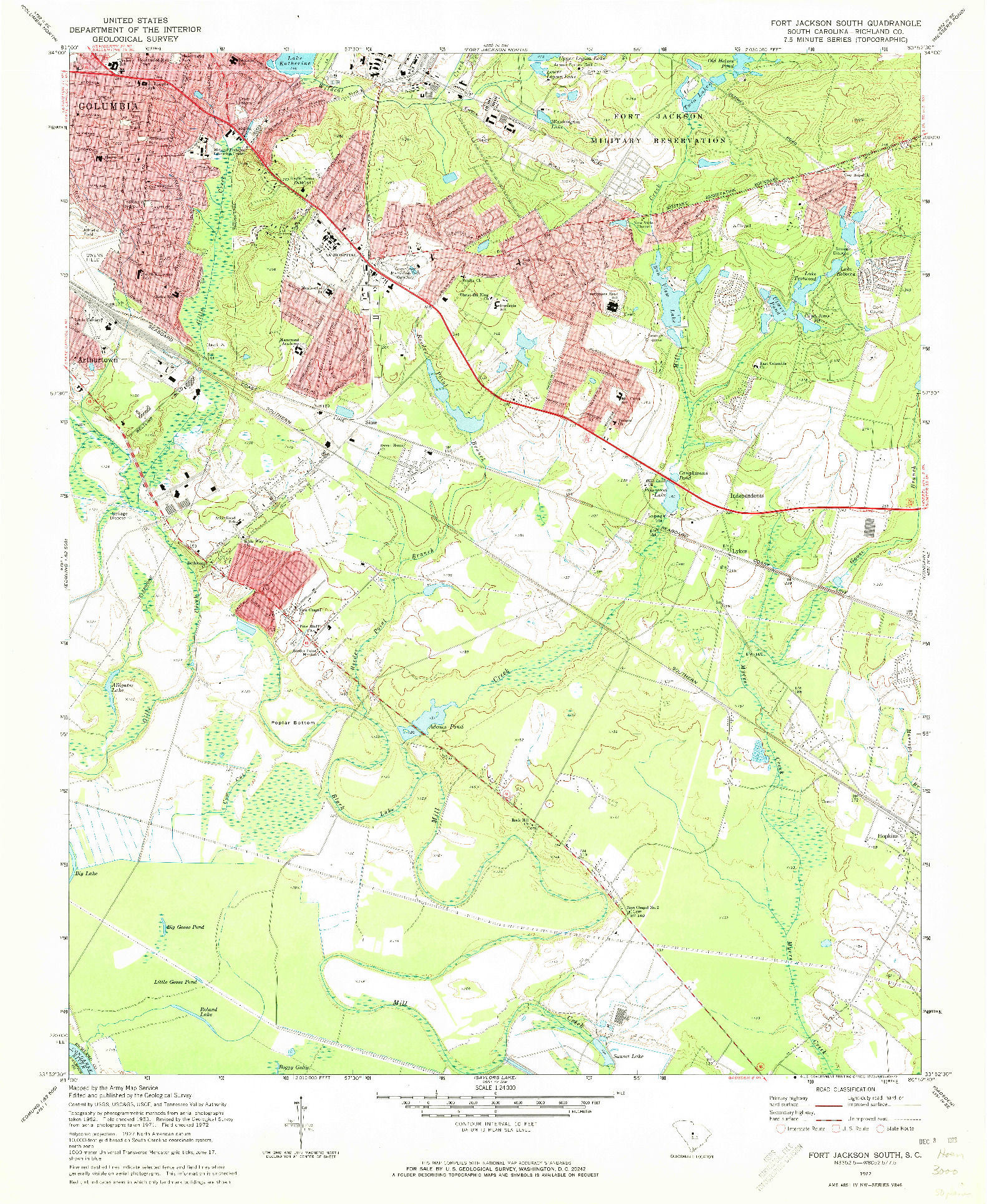 USGS 1:24000-SCALE QUADRANGLE FOR FORT JACKSON SOUTH, SC 1972