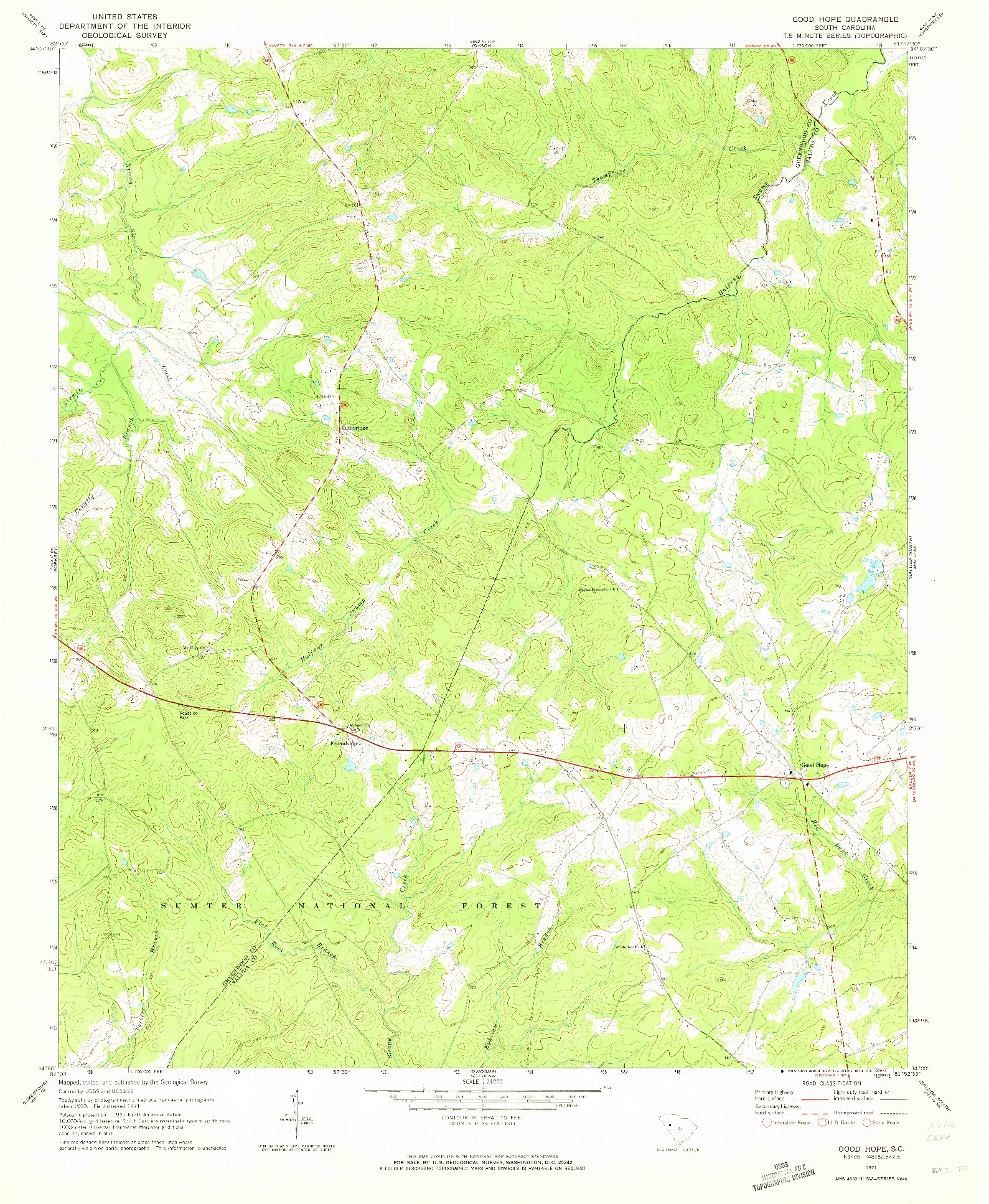 USGS 1:24000-SCALE QUADRANGLE FOR GOOD HOPE, SC 1971