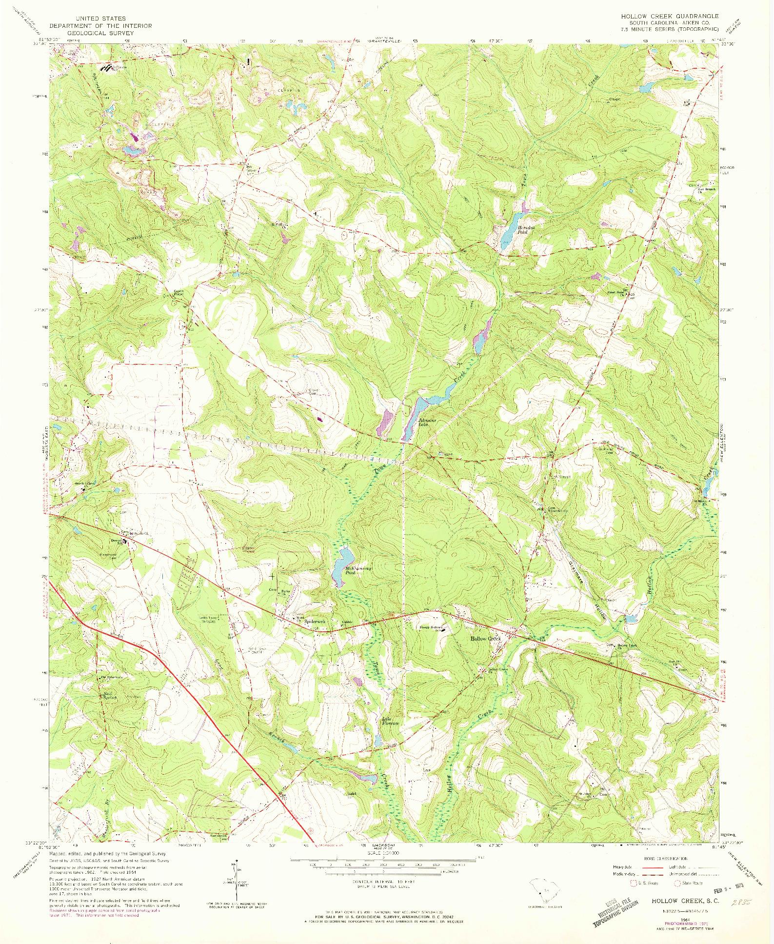 USGS 1:24000-SCALE QUADRANGLE FOR HOLLOW CREEK, SC 1964