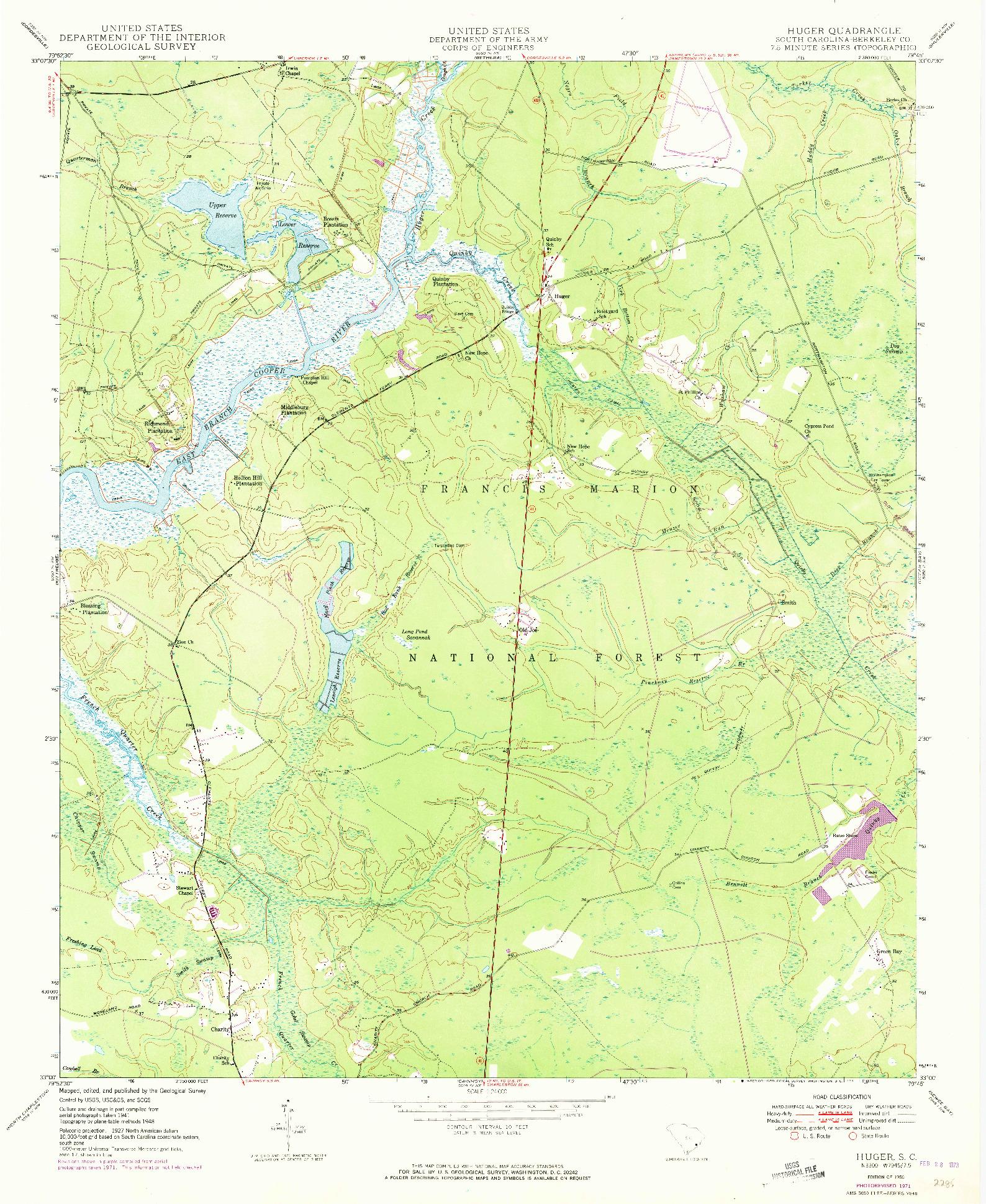 USGS 1:24000-SCALE QUADRANGLE FOR HUGER, SC 1950