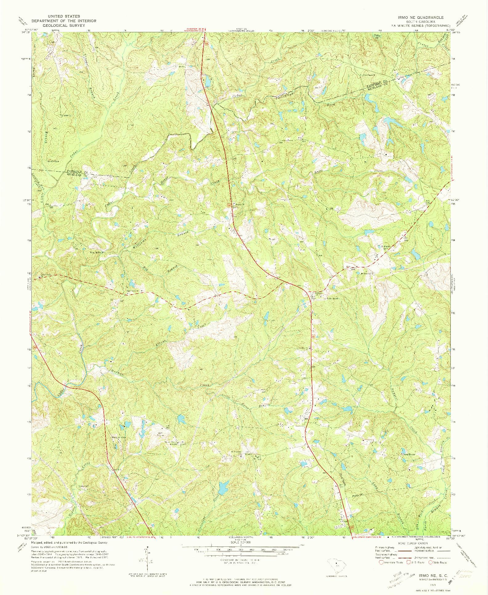 USGS 1:24000-SCALE QUADRANGLE FOR IRMO NE, SC 1971