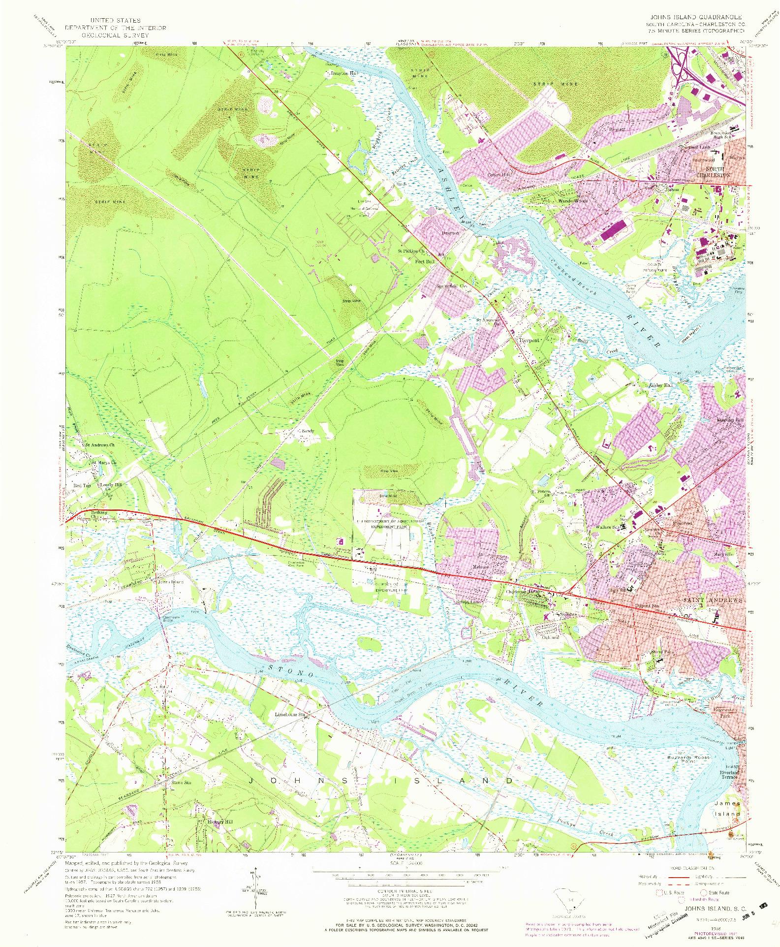 USGS 1:24000-SCALE QUADRANGLE FOR JOHNS ISLAND, SC 1958