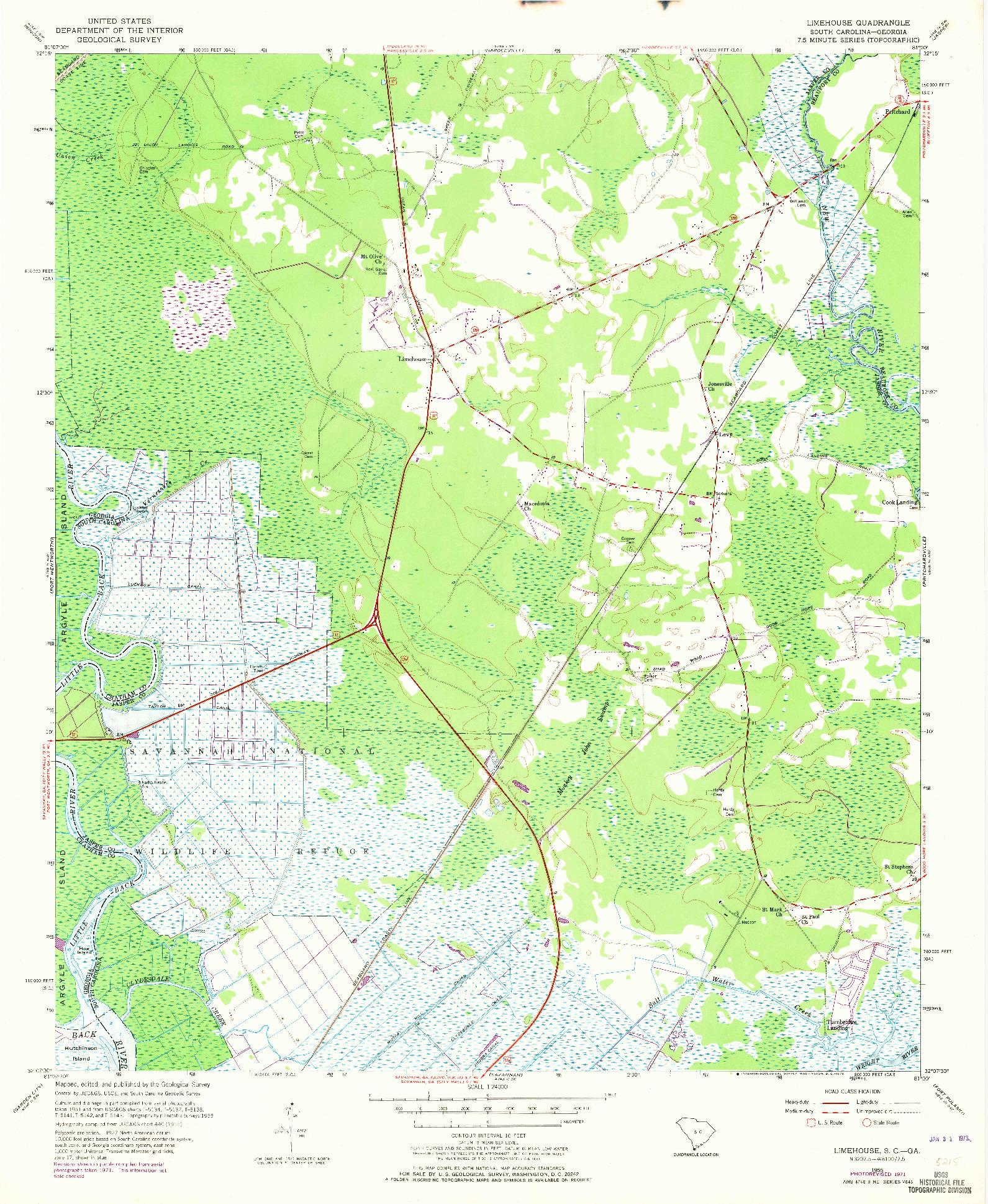 USGS 1:24000-SCALE QUADRANGLE FOR LIMEHOUSE, SC 1955
