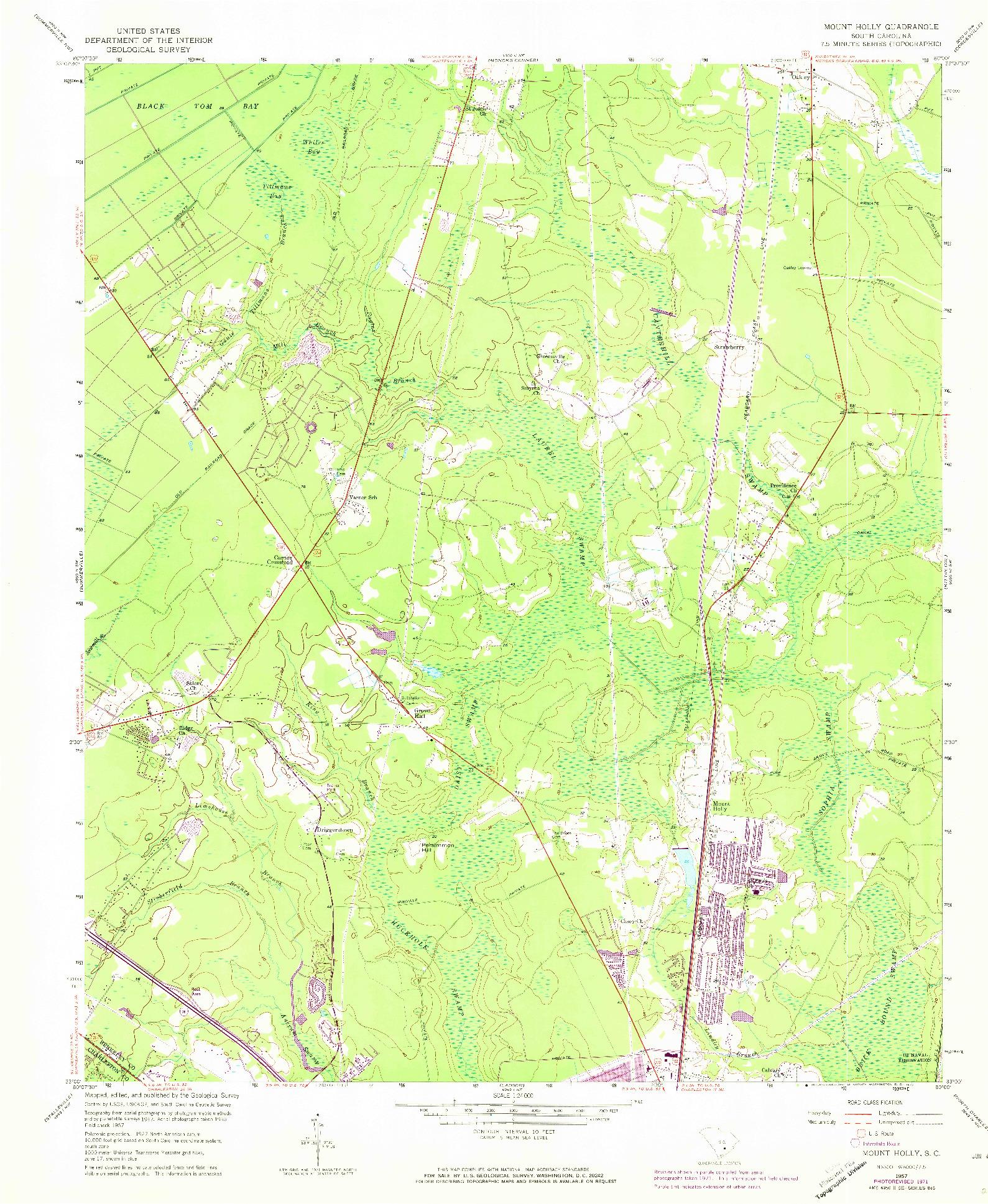 USGS 1:24000-SCALE QUADRANGLE FOR MOUNT HOLLY, SC 1957