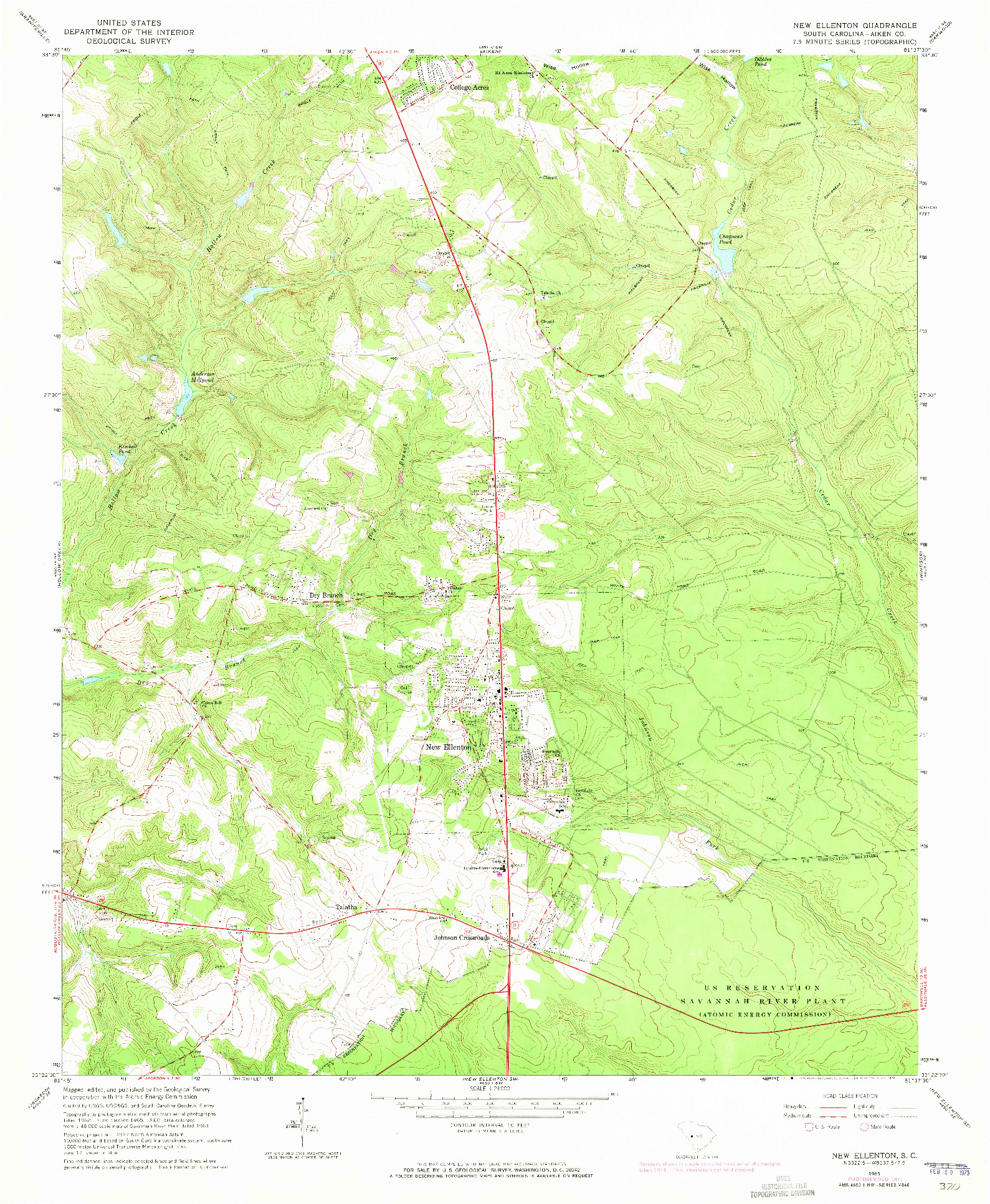 USGS 1:24000-SCALE QUADRANGLE FOR NEW ELLENTON, SC 1965