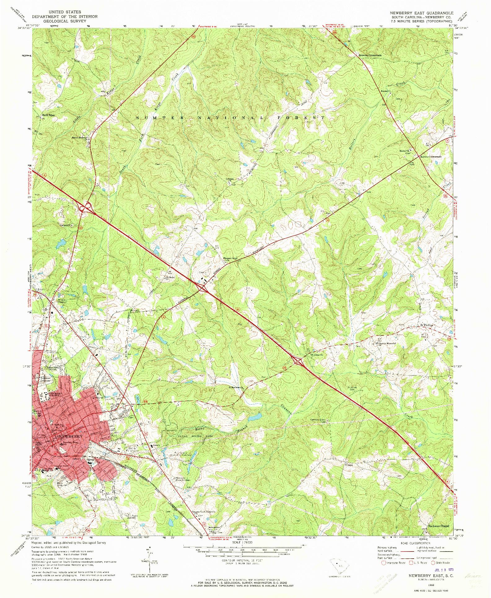 USGS 1:24000-SCALE QUADRANGLE FOR NEWBERRY EAST, SC 1968