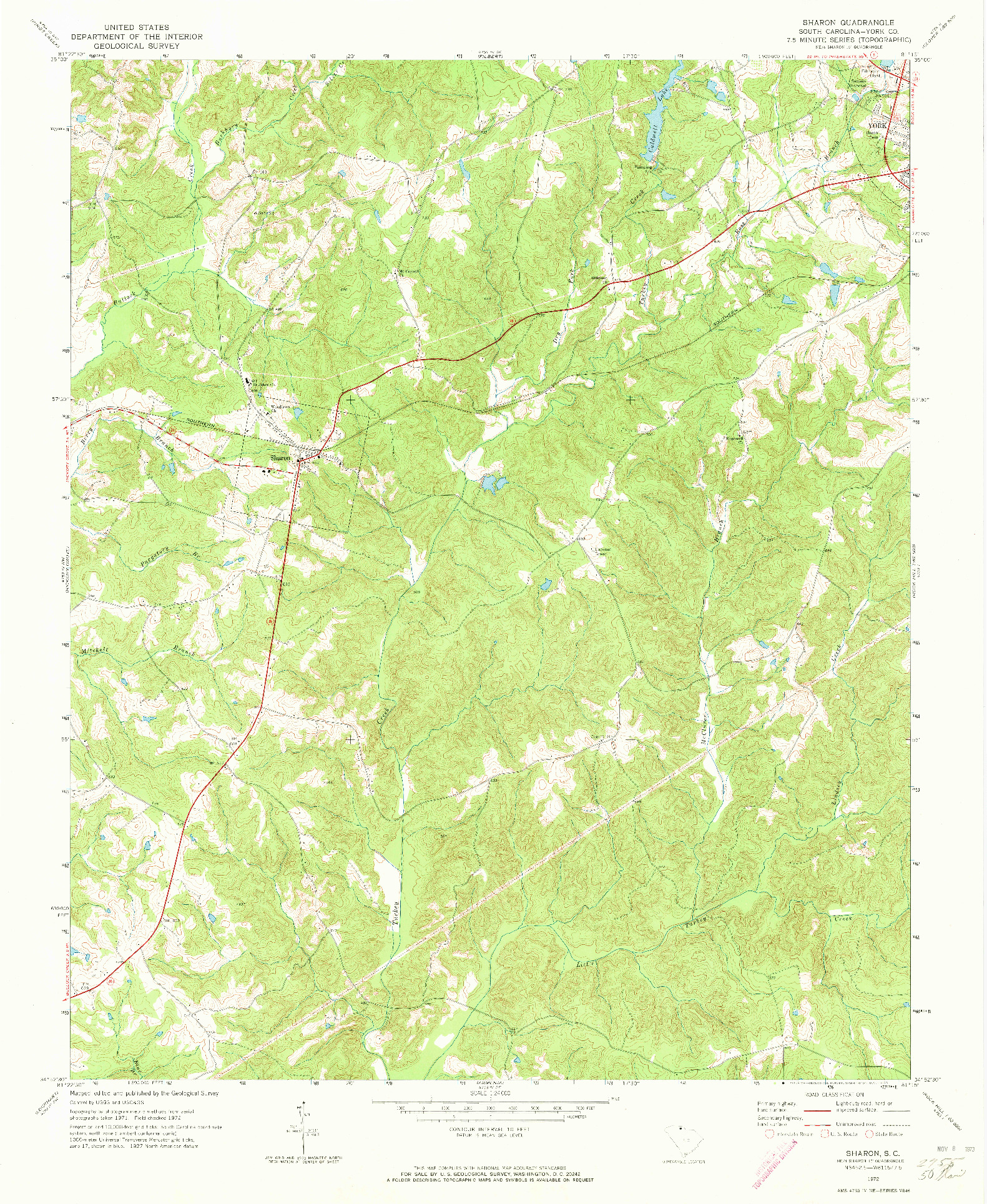USGS 1:24000-SCALE QUADRANGLE FOR SHARON, SC 1972