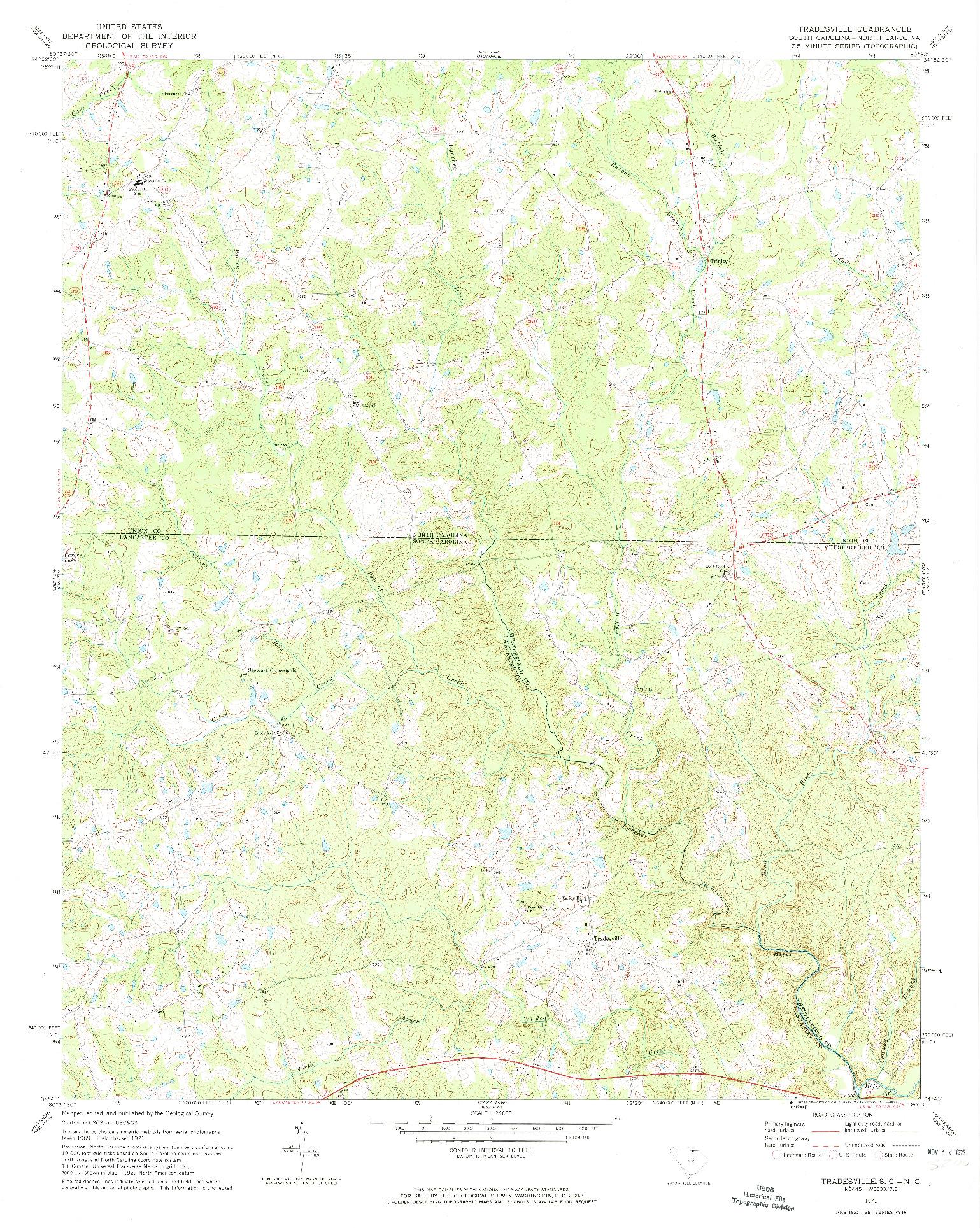 USGS 1:24000-SCALE QUADRANGLE FOR TRADESVILLE, SC 1971