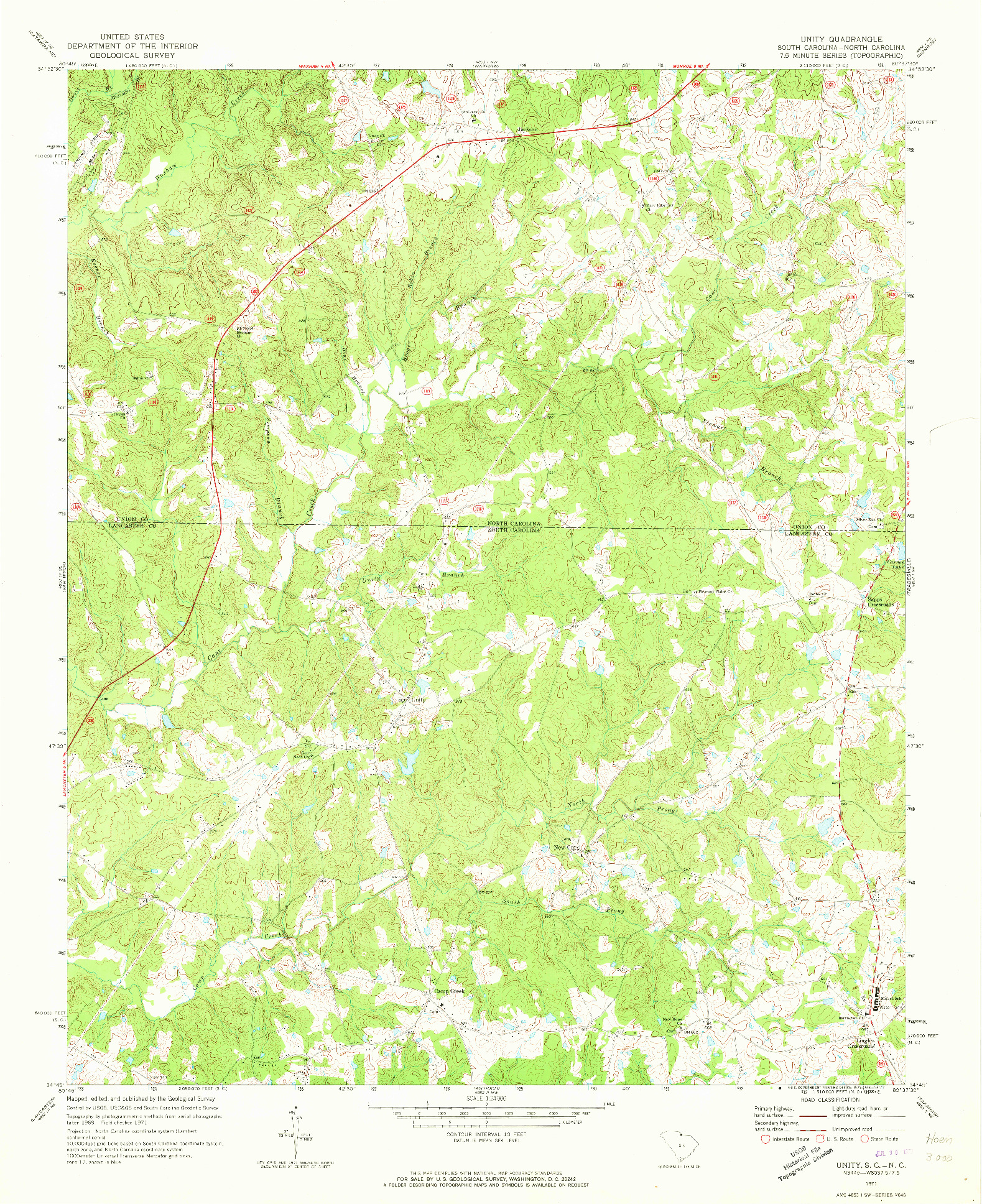USGS 1:24000-SCALE QUADRANGLE FOR UNITY, SC 1971