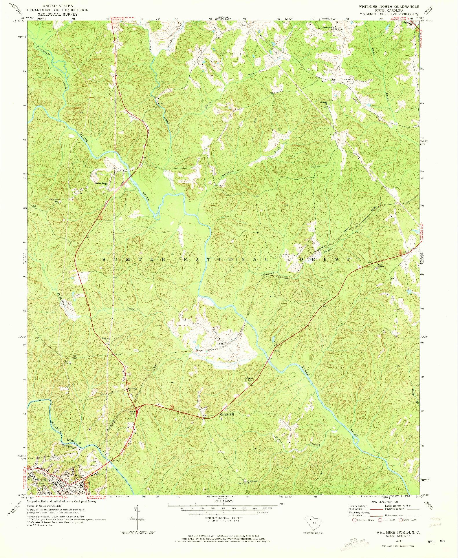 USGS 1:24000-SCALE QUADRANGLE FOR WHITMIRE NORTH, SC 1970