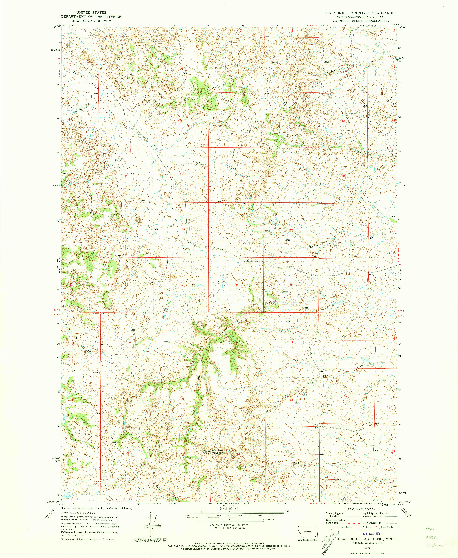 USGS 1:24000-SCALE QUADRANGLE FOR BEAR SKULL MOUNTAIN, MT 1970