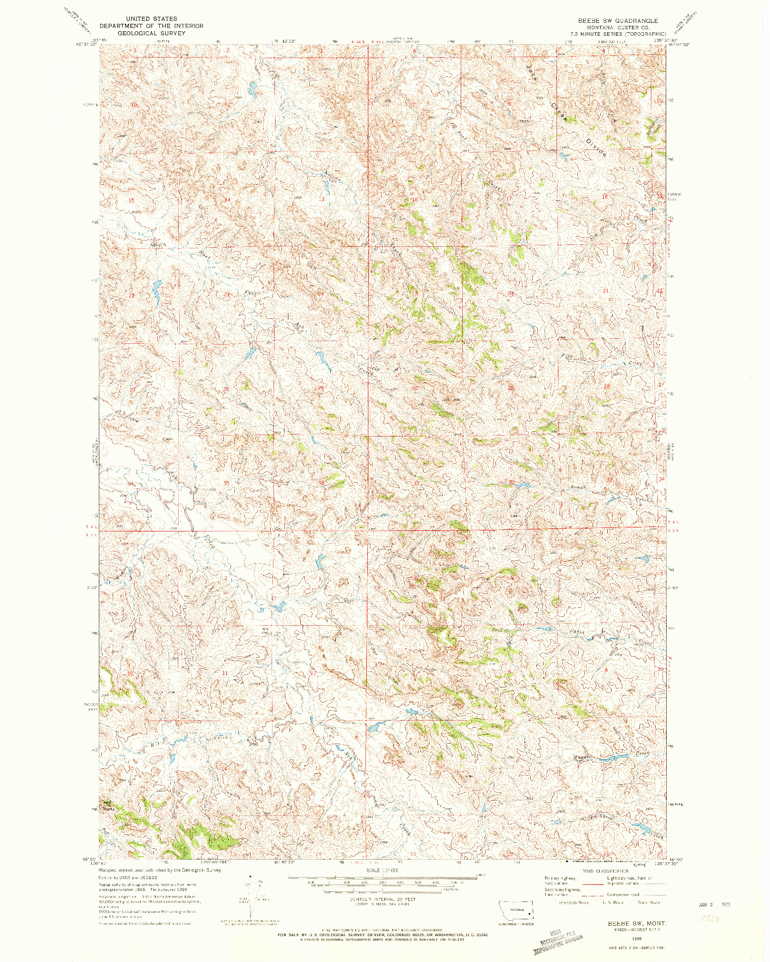 USGS 1:24000-SCALE QUADRANGLE FOR BEEBE SW, MT 1969