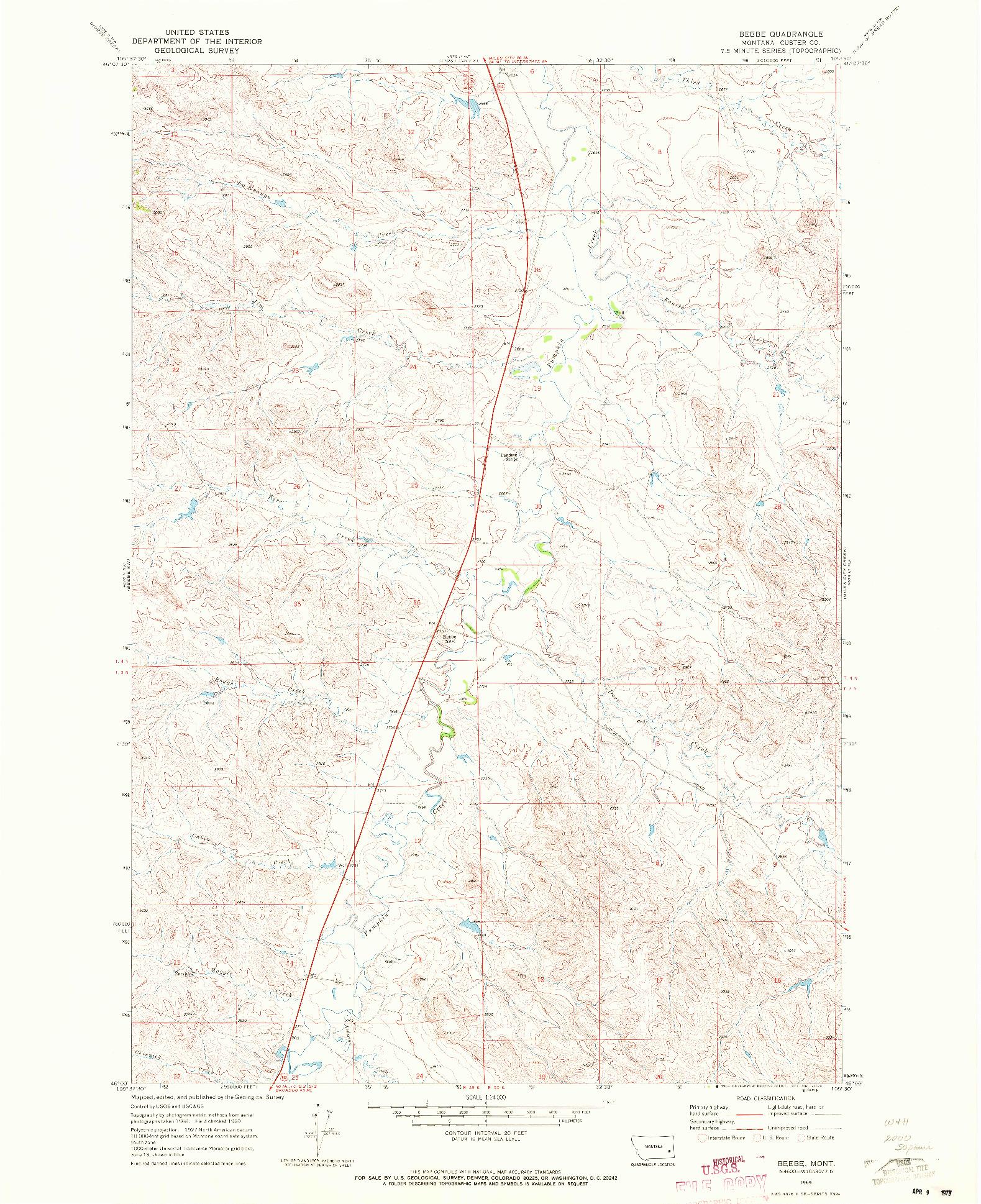 USGS 1:24000-SCALE QUADRANGLE FOR BEEBE, MT 1969
